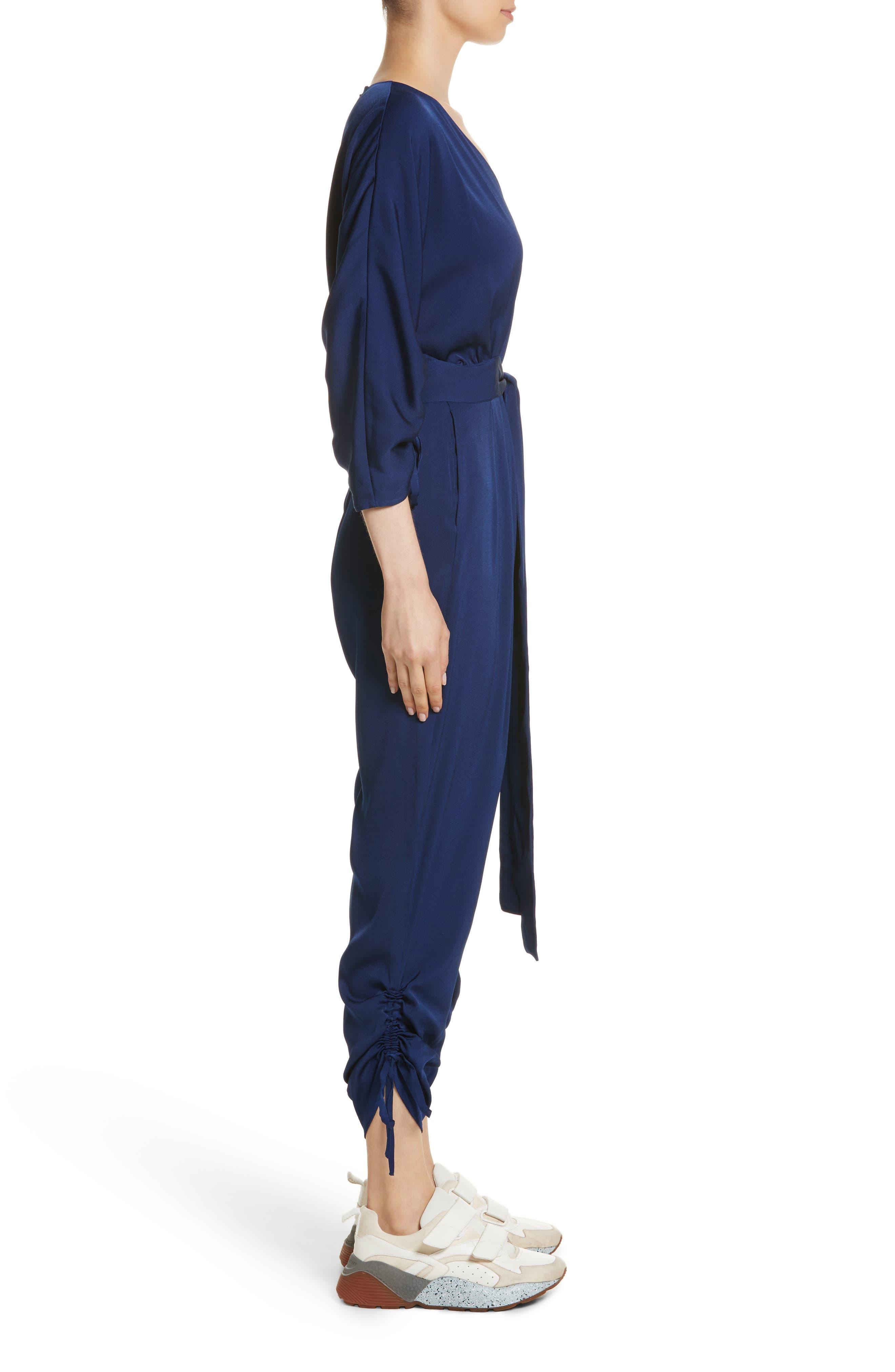 Drawstring Cady Jumpsuit,                             Alternate thumbnail 3, color,                             Sapphire Blue