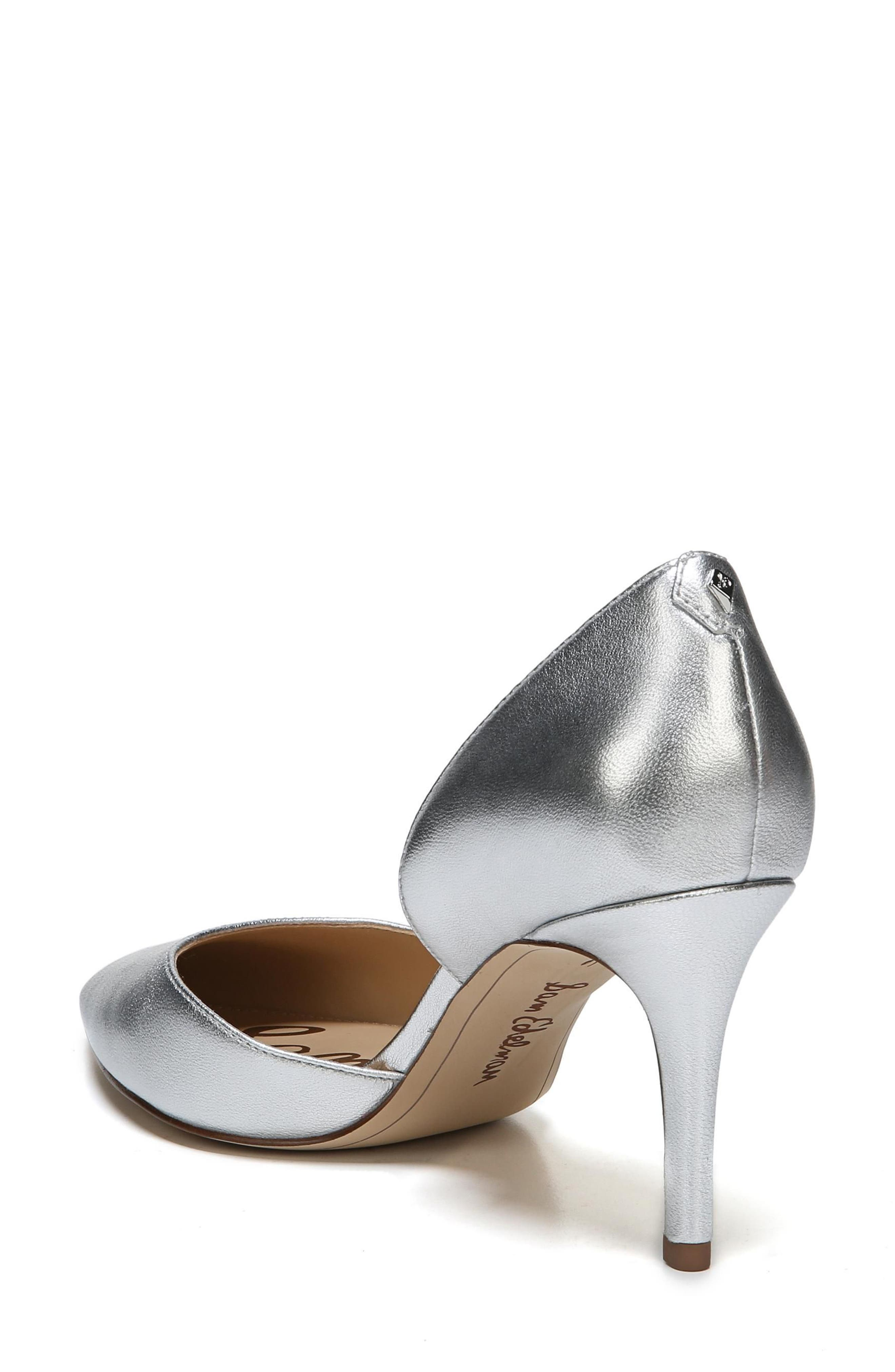 'Telsa' d'Orsay Pointy Toe Pump,                             Alternate thumbnail 2, color,                             Soft Silver Leather