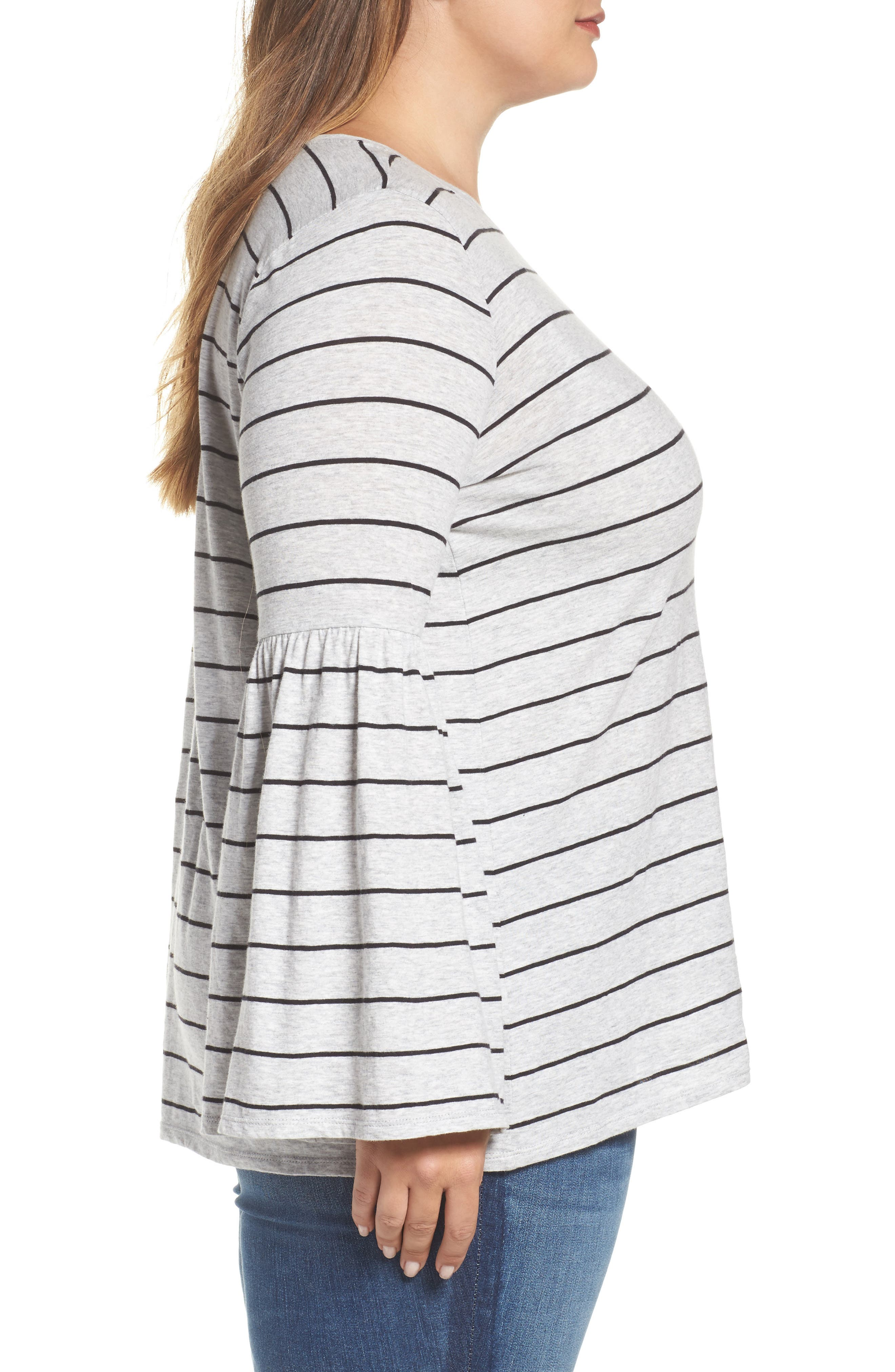 Alternate Image 3  - Two by Vince Camuto Nova Stripe Bell Sleeve Top (Plus Size)