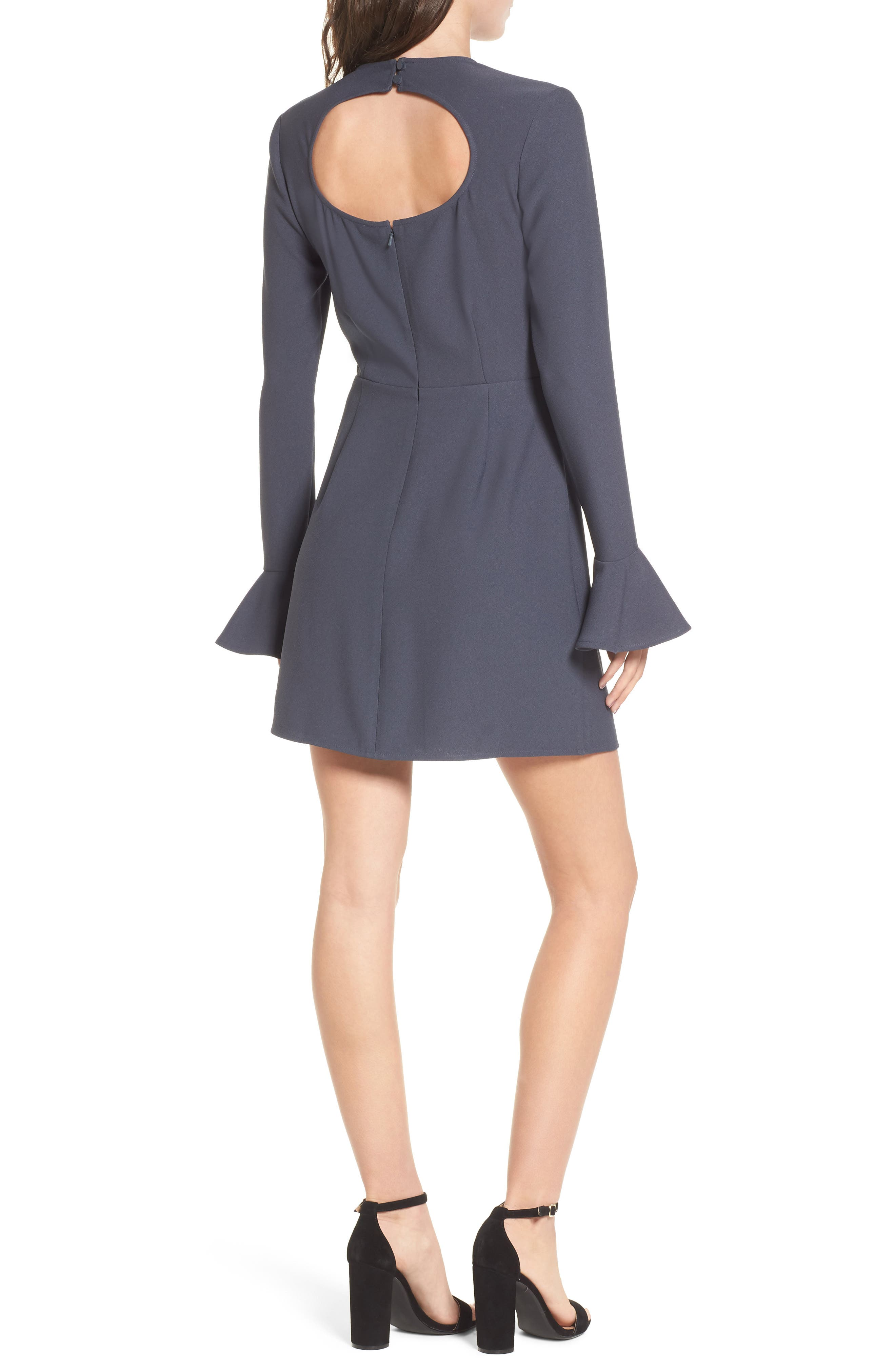 Bell Sleeve Sheath Dress,                             Alternate thumbnail 2, color,                             Navy India Ink