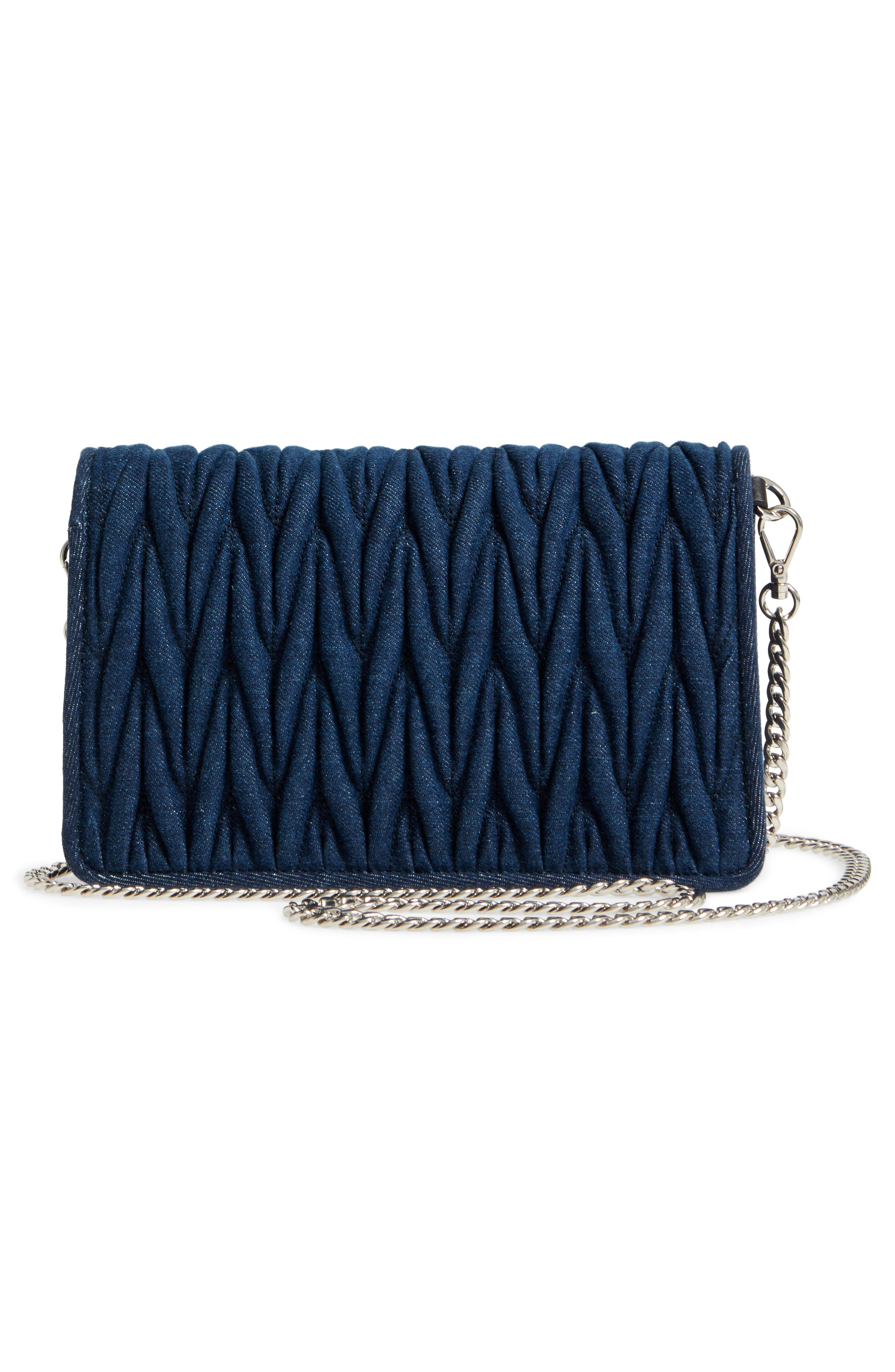 Matelassé Denim Crossbody Clutch,                             Alternate thumbnail 2, color,                             Bleu