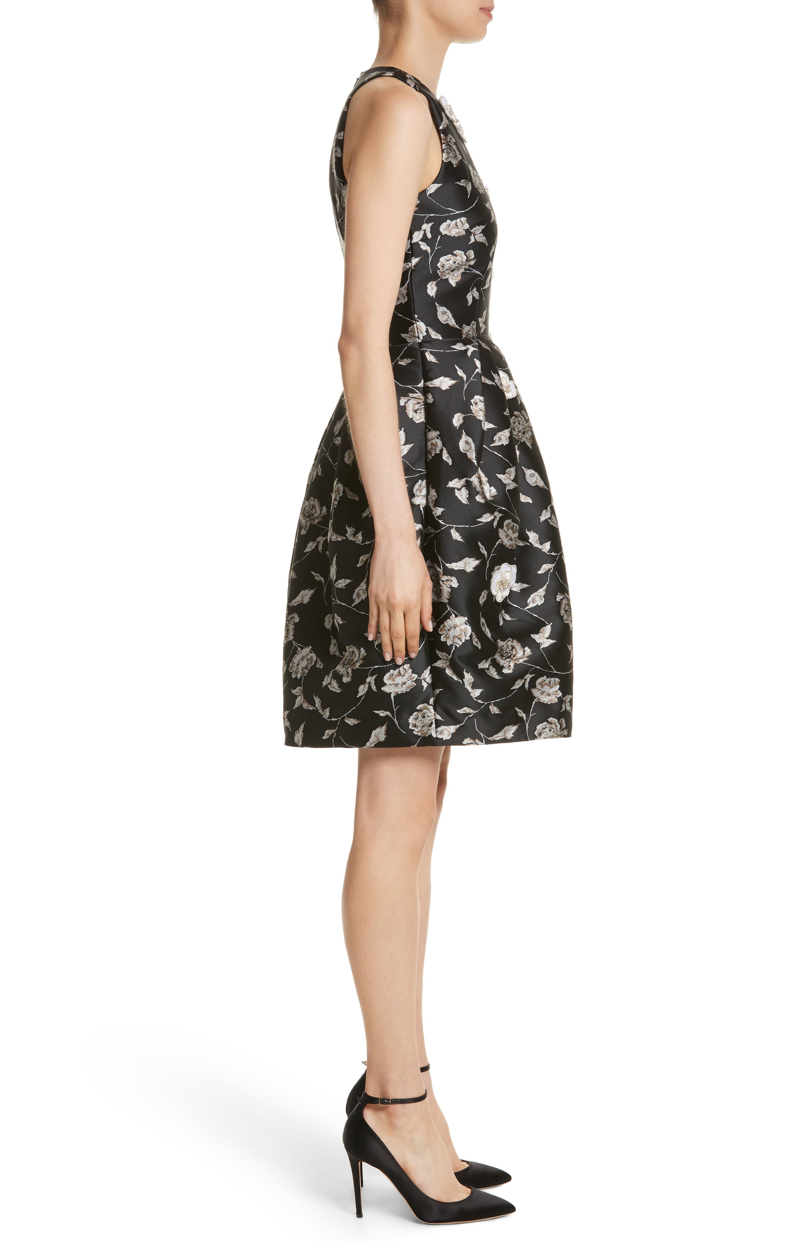 Carmen Marc Valvo Embellished Appliqué Floral Jacquard Cocktail Dress,                             Alternate thumbnail 3, color,                             Black