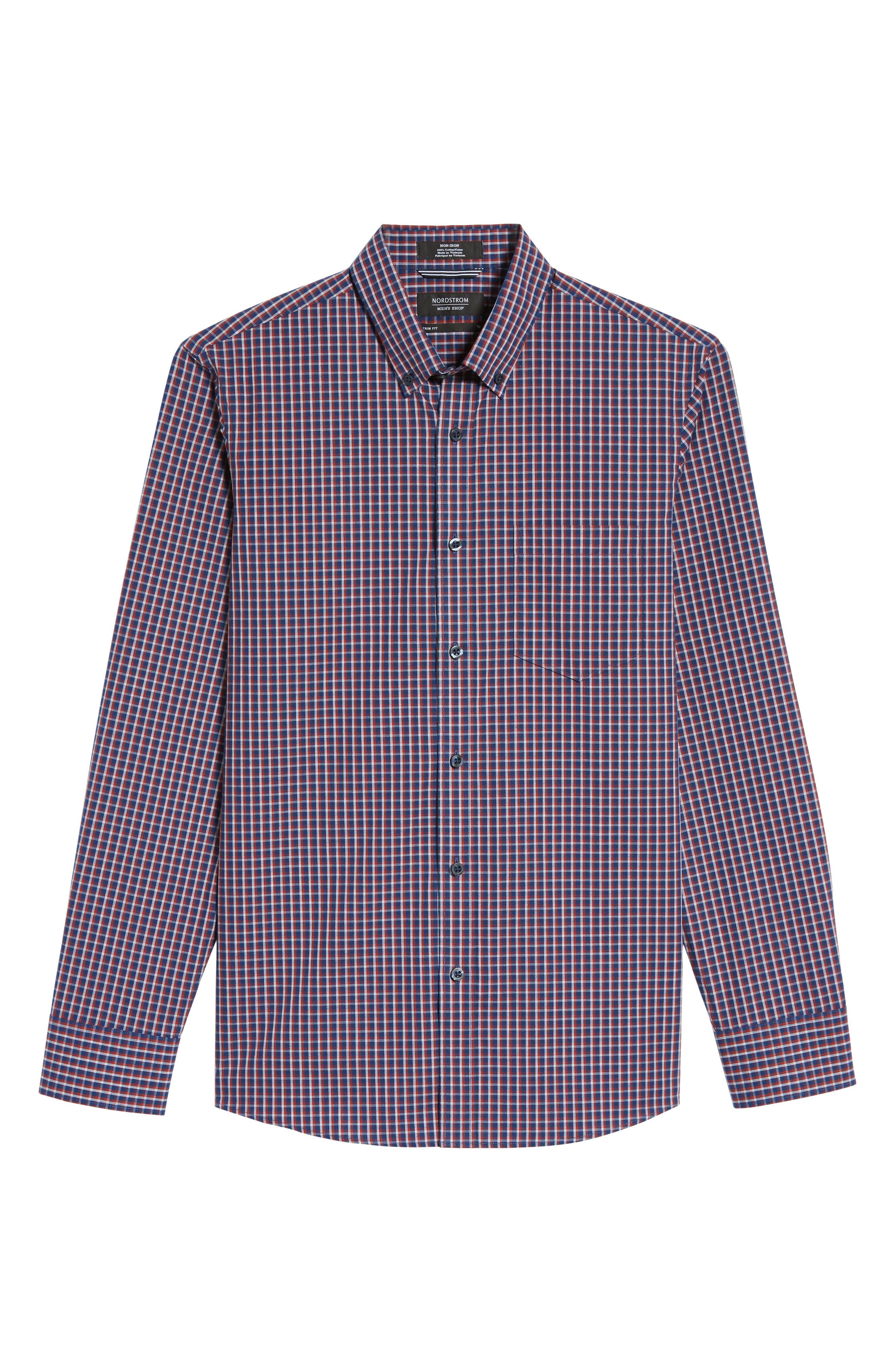 Alternate Image 6  - Nordstrom Men's Shop Slim Fit Non-Iron Mini Check Sport Shirt