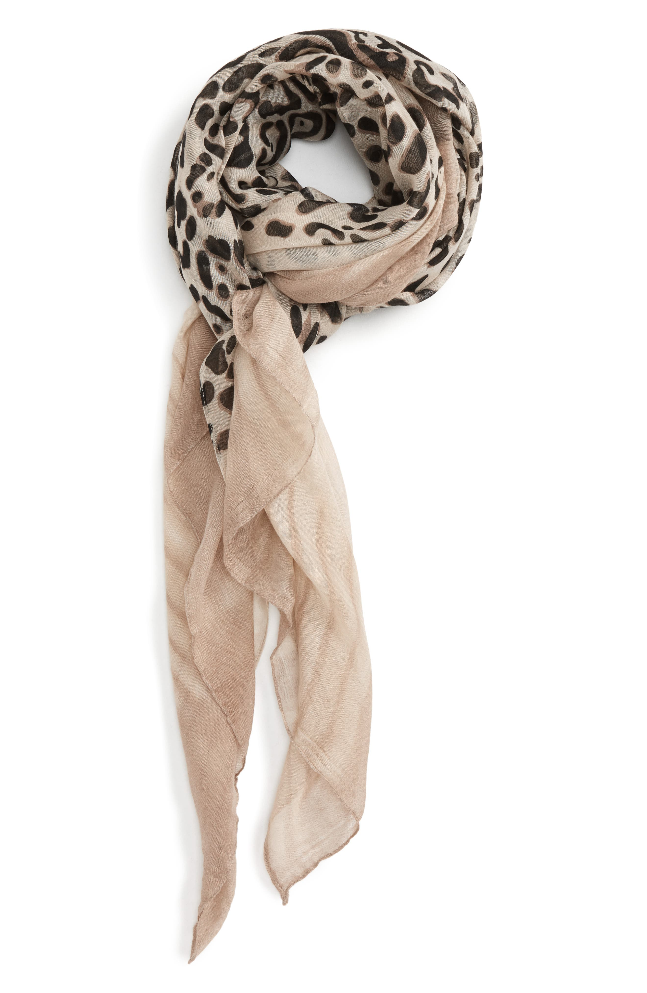 Accessory Collective Leopard Print Scarf,                         Main,                         color, Brown