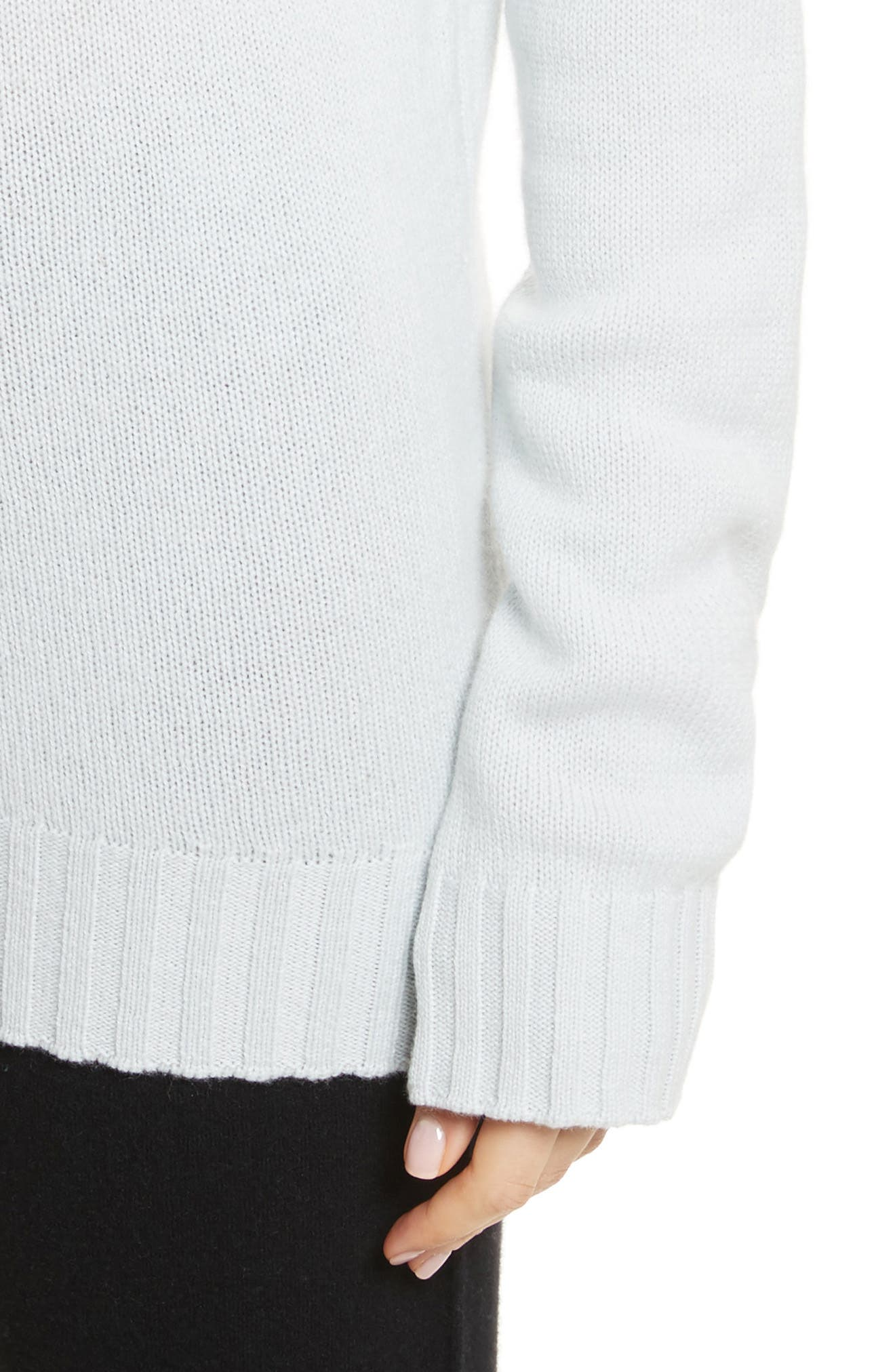 Off the Shoulder Wool & Cashmere Sweater,                             Alternate thumbnail 4, color,                             Sea