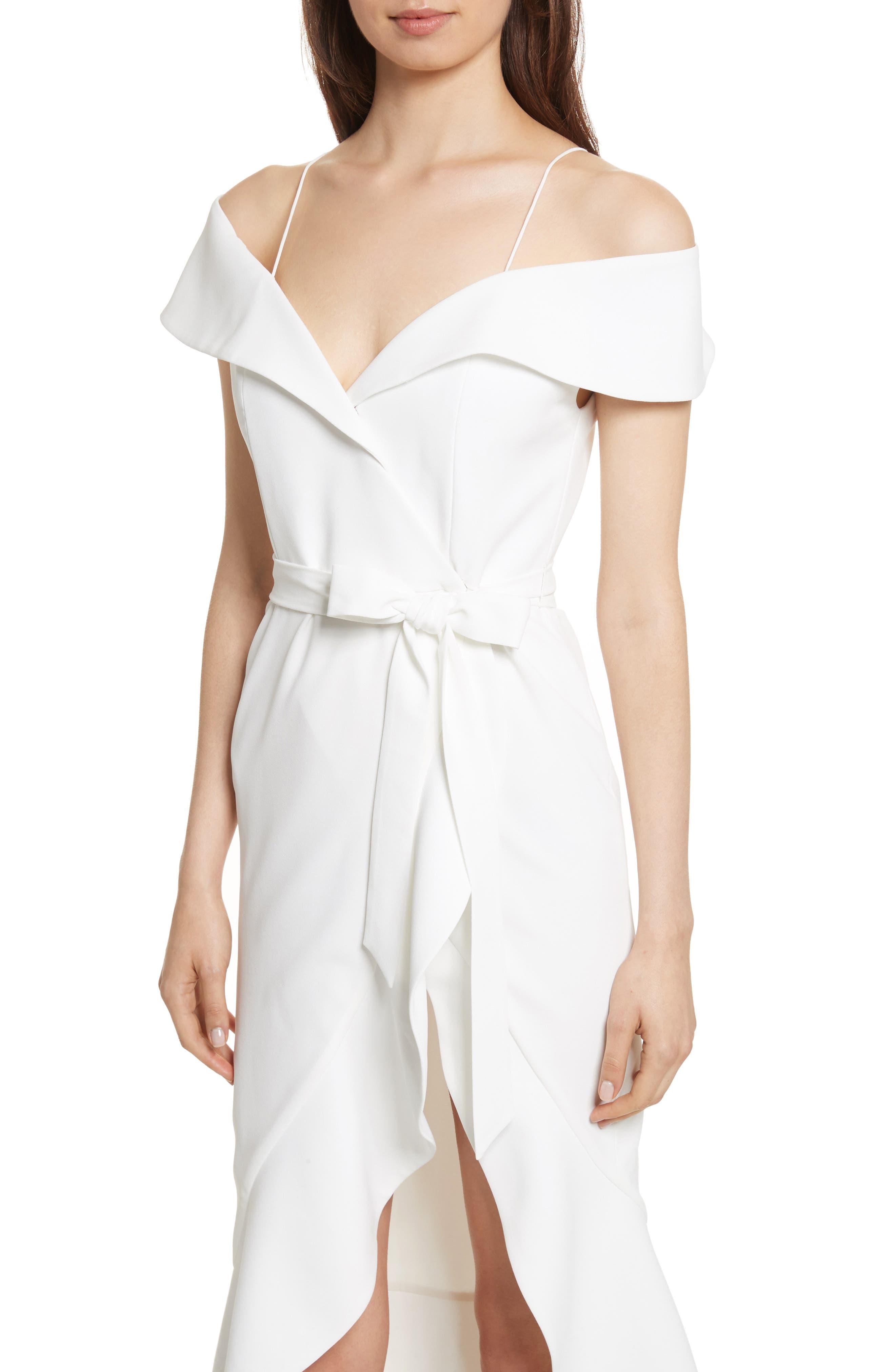 Josie Off the Shoulder Ruffle Wrap Dress,                             Alternate thumbnail 4, color,                             Off White