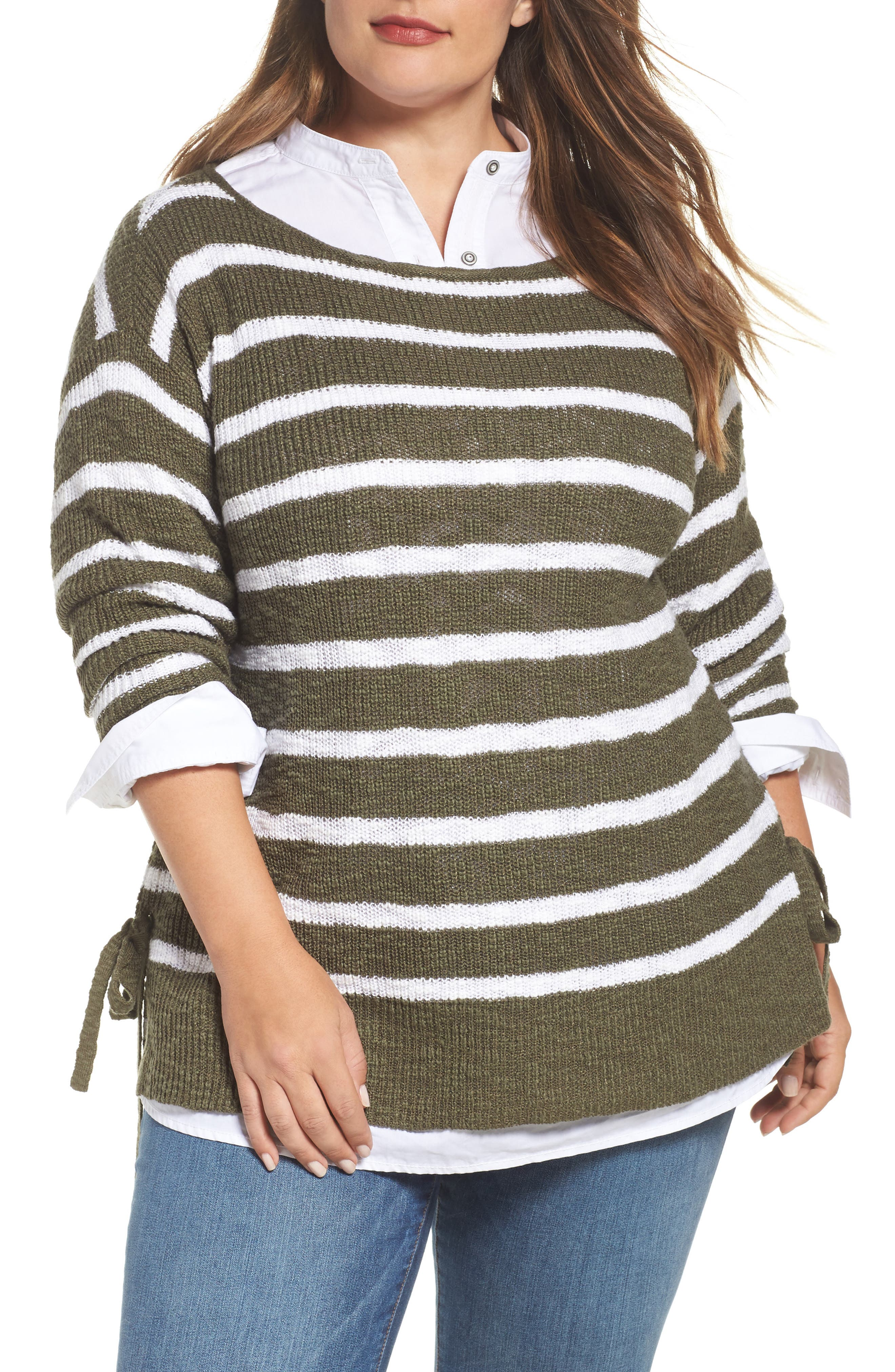 Tunic Sweater with Side Ties,                             Main thumbnail 1, color,                             Olive- White Stripe