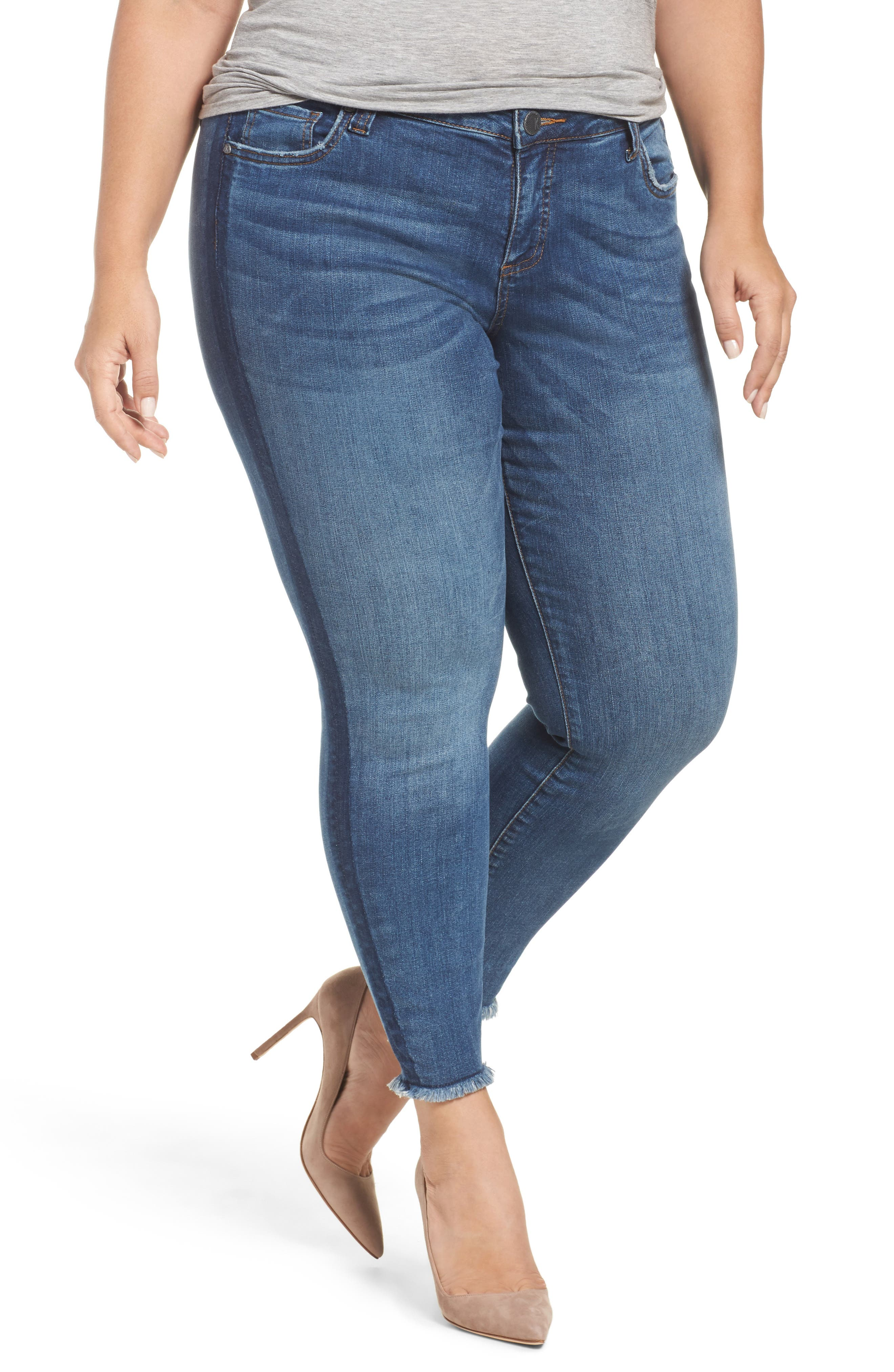 Alternate Image 1 Selected - KUT from the Kloth Connie Frayed Skinny Ankle Jeans (Prolific) (Plus Size)