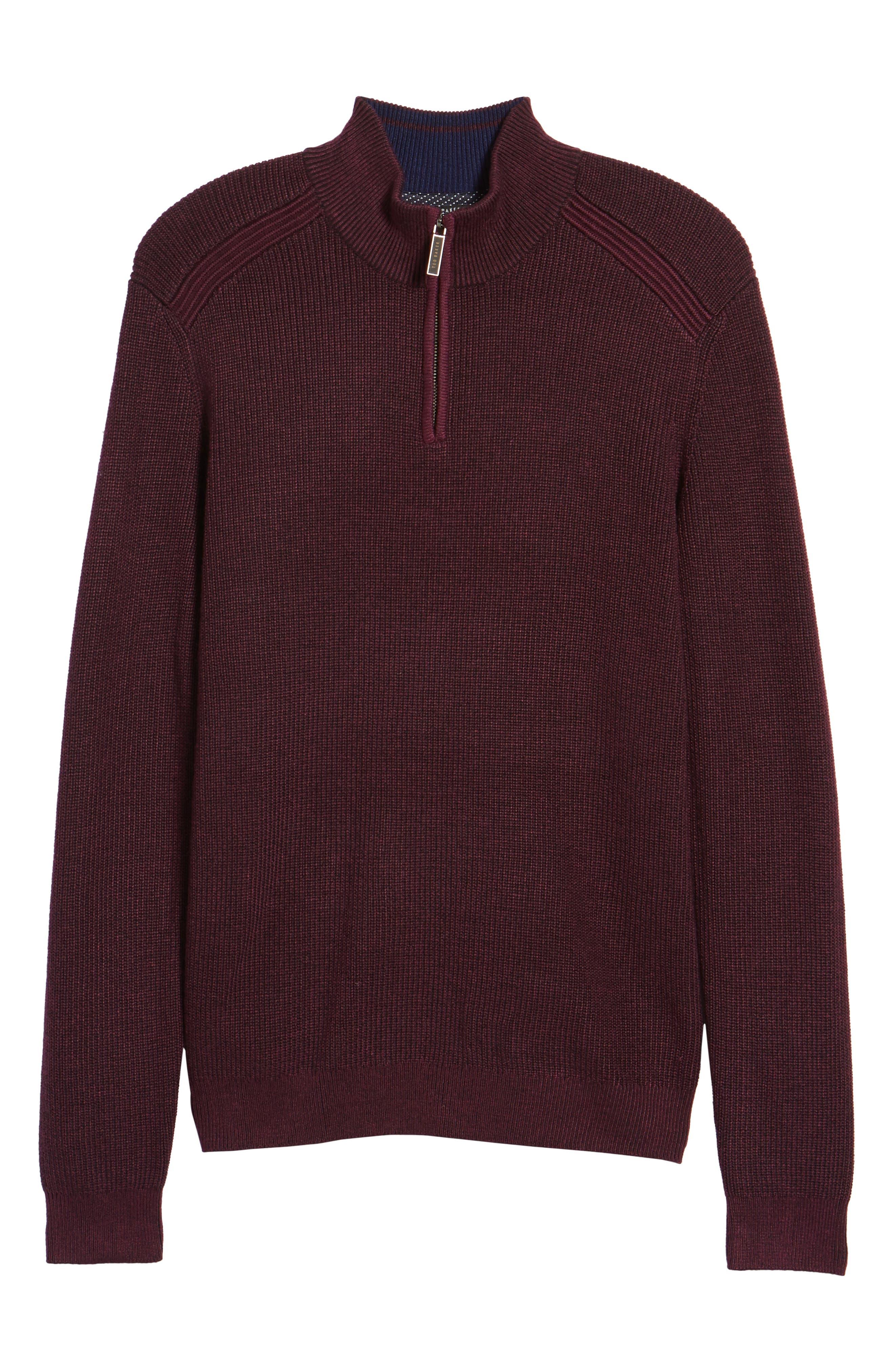 Stach Quarter Zip Sweater,                             Alternate thumbnail 6, color,                             Purple