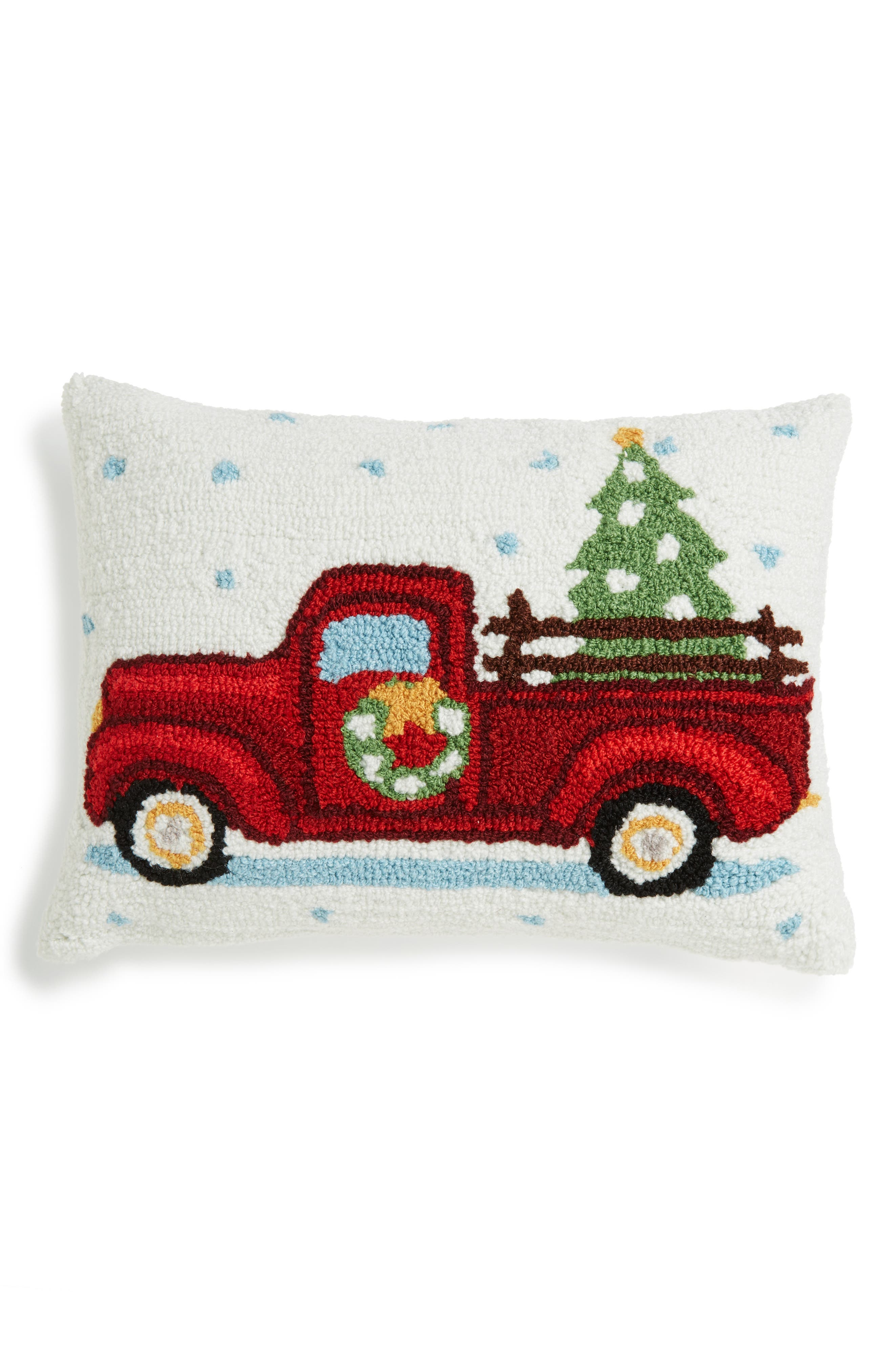 Main Image - Peking Handicraft Highway Christmas Tree Truck Hooked Accent Pillow