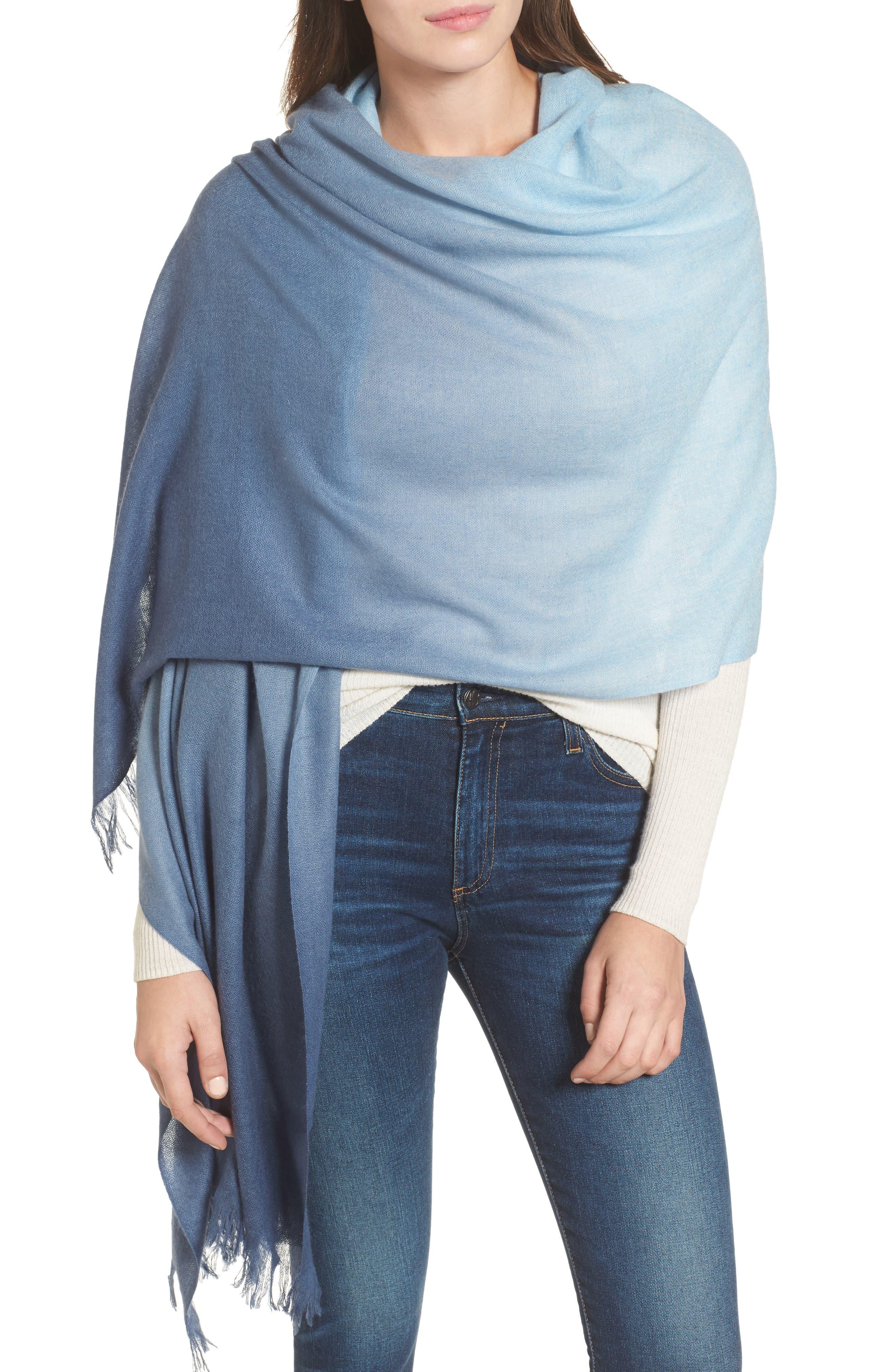 Caslon Dip Dye Cashmere Wrap,                             Alternate thumbnail 4, color,                             Blue Combo