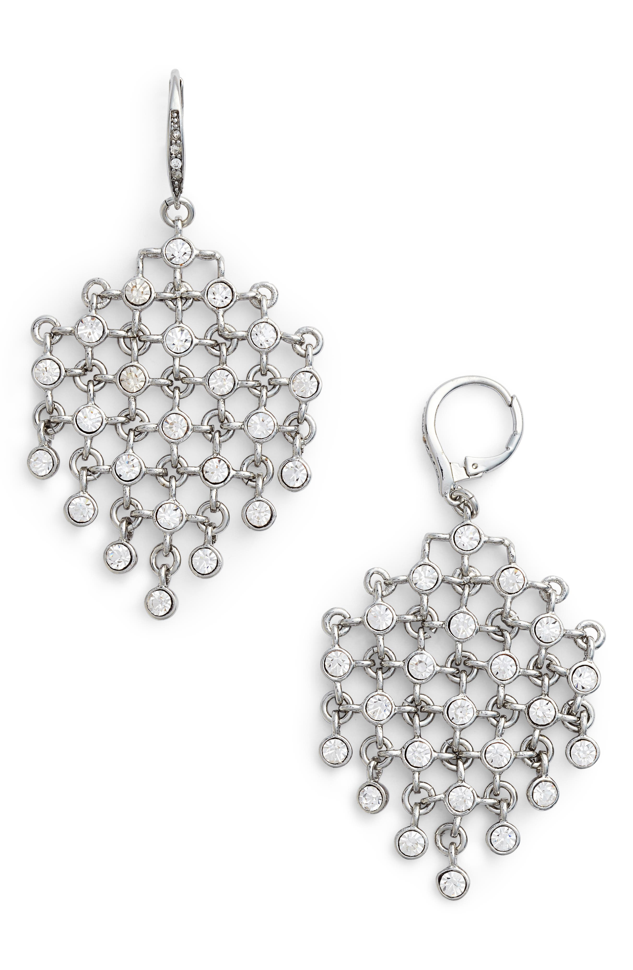 Kite Earrings,                             Main thumbnail 1, color,                             Crystal/ Silver