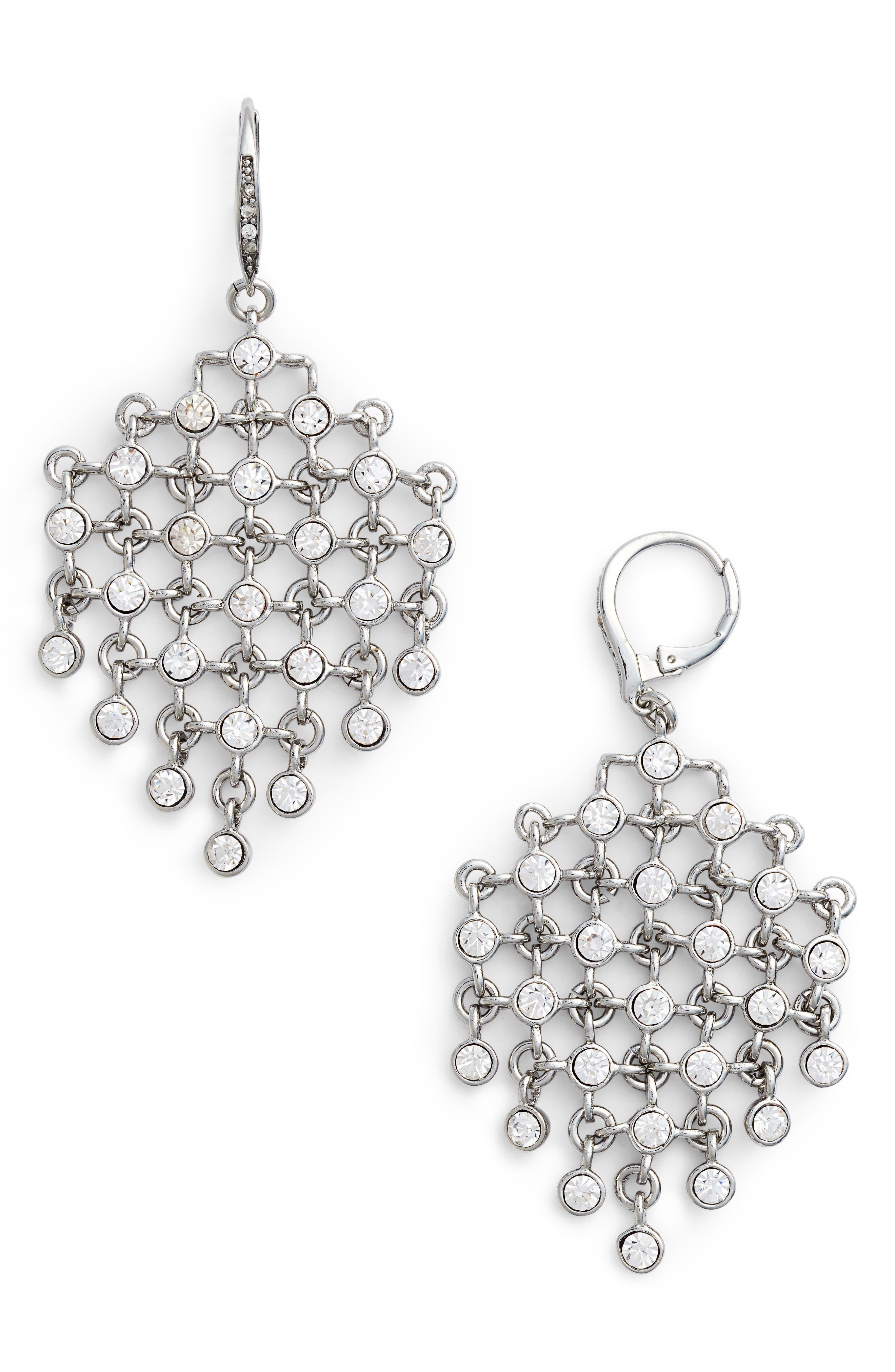 Kite Earrings,                         Main,                         color, Crystal/ Silver