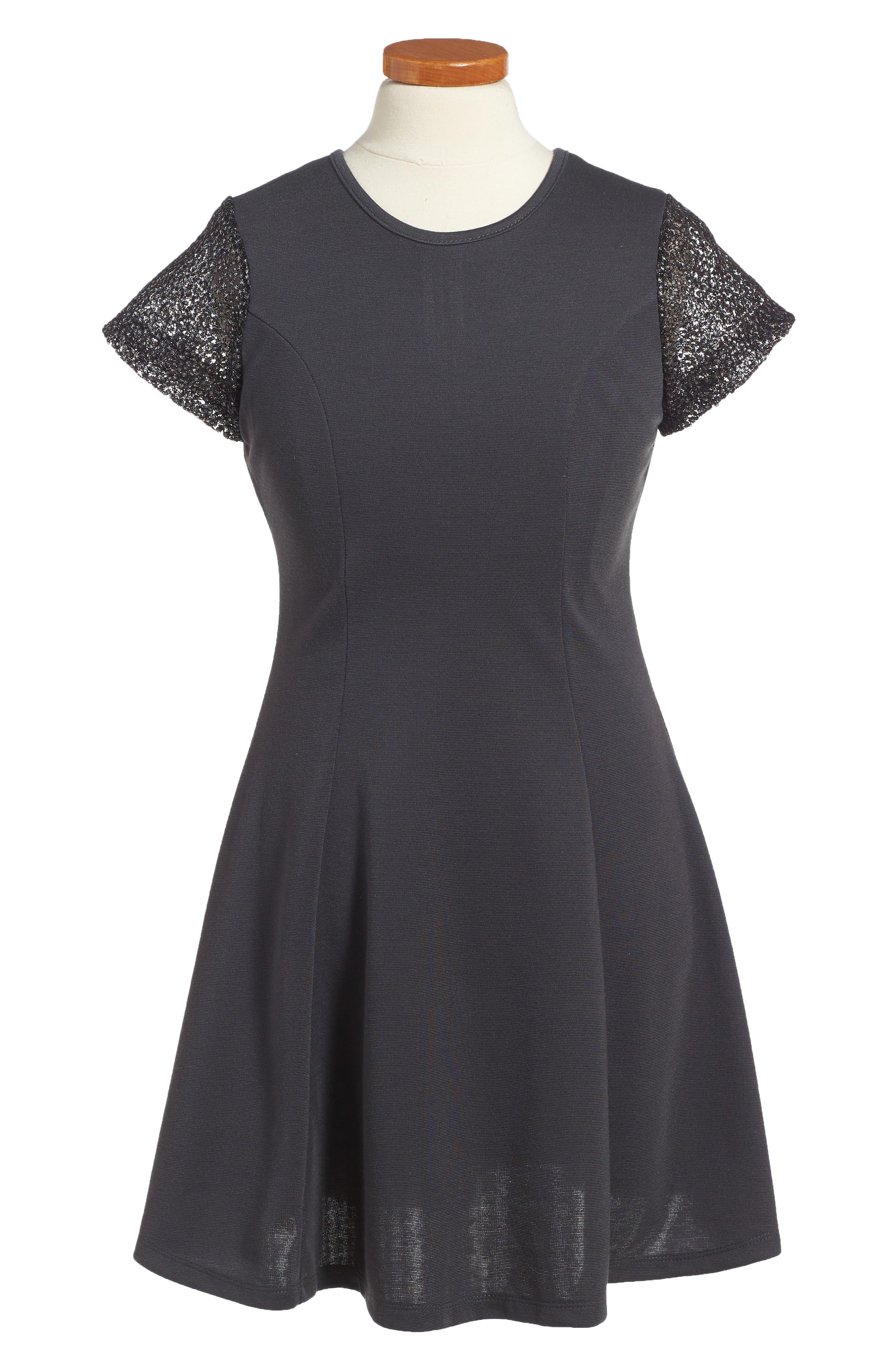 Priscilla Mesh Sleeve Dress,                             Main thumbnail 1, color,                             Charcoal