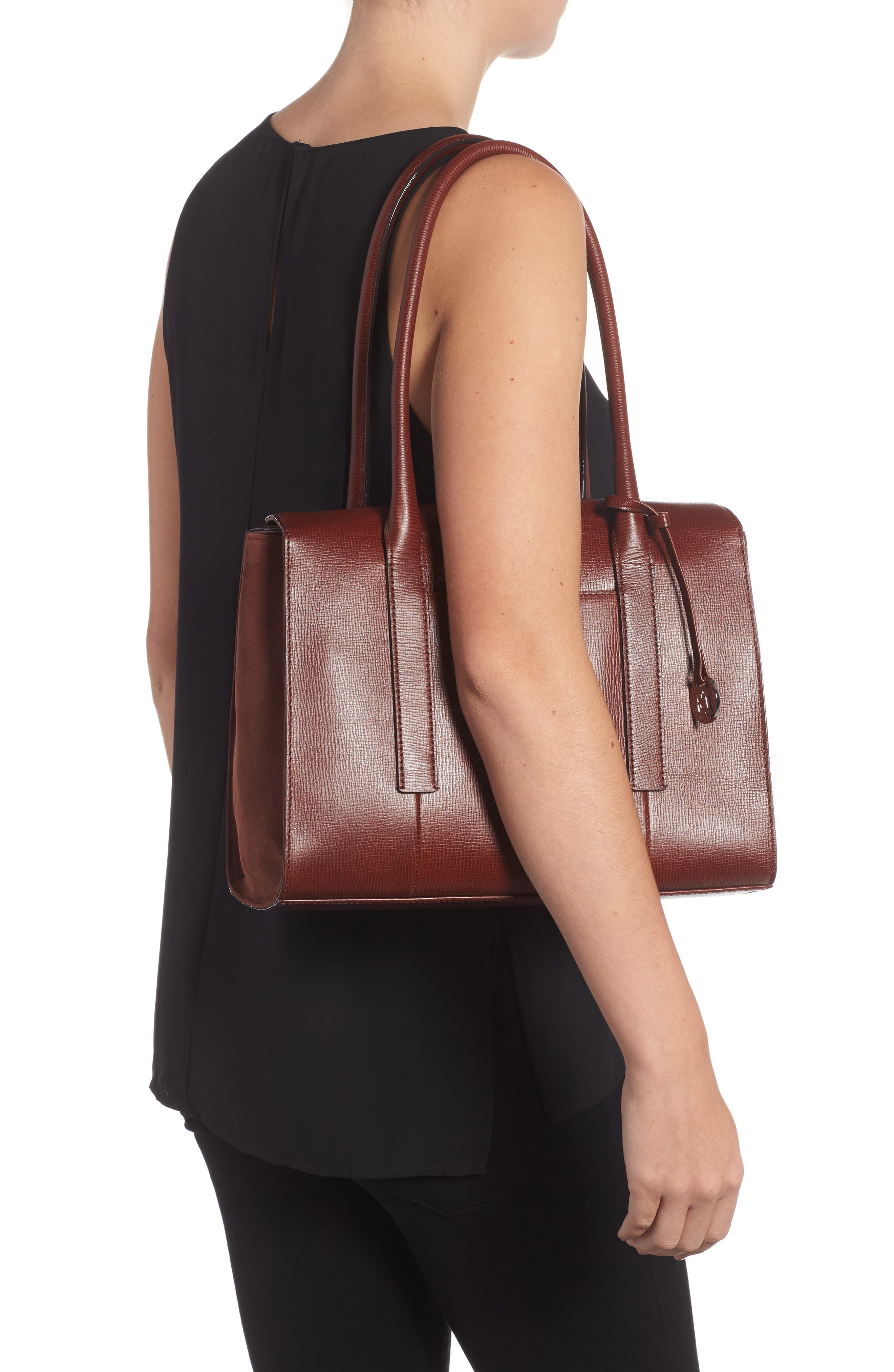 Alternate Image 2  - Lodis Business Chic Paula RFID-Protected Coated Leather & Suede Brief Shoulder Bag