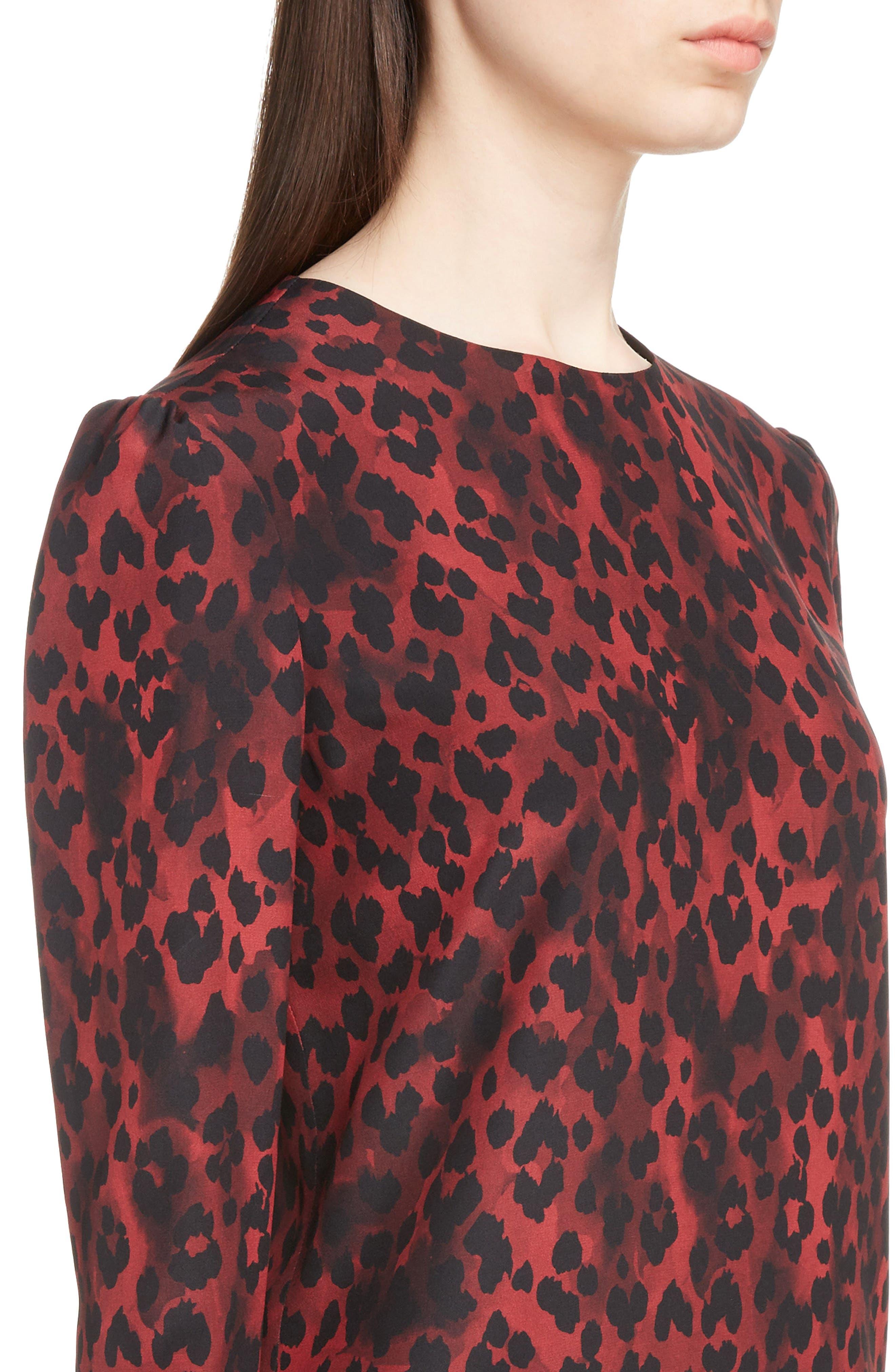 Silk Crêpe de Chine Leopard Print Shift Dress,                             Alternate thumbnail 4, color,                             Rouge