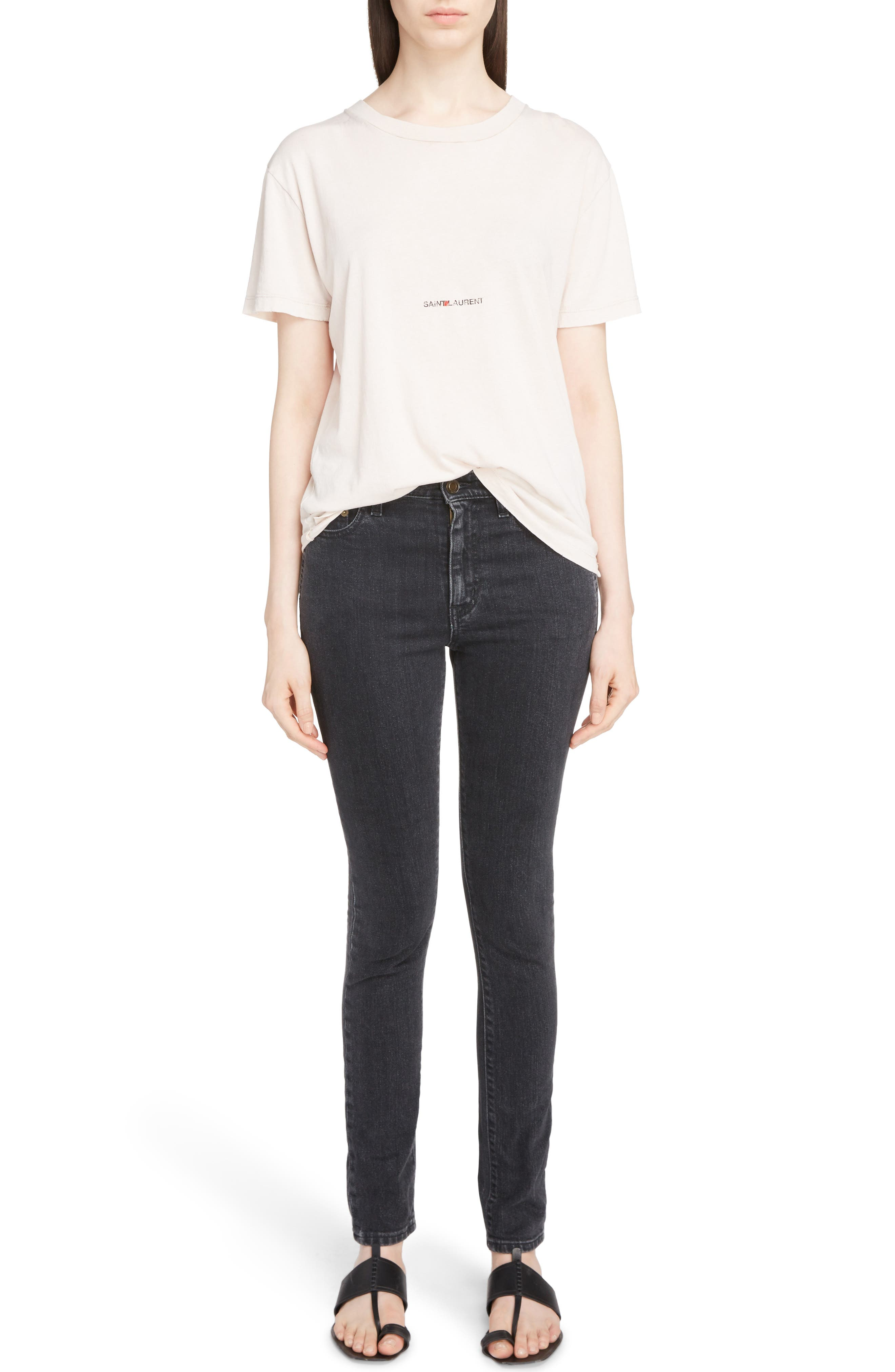 Skinny Stretch Jeans,                             Alternate thumbnail 11, color,                             Black Stonewash