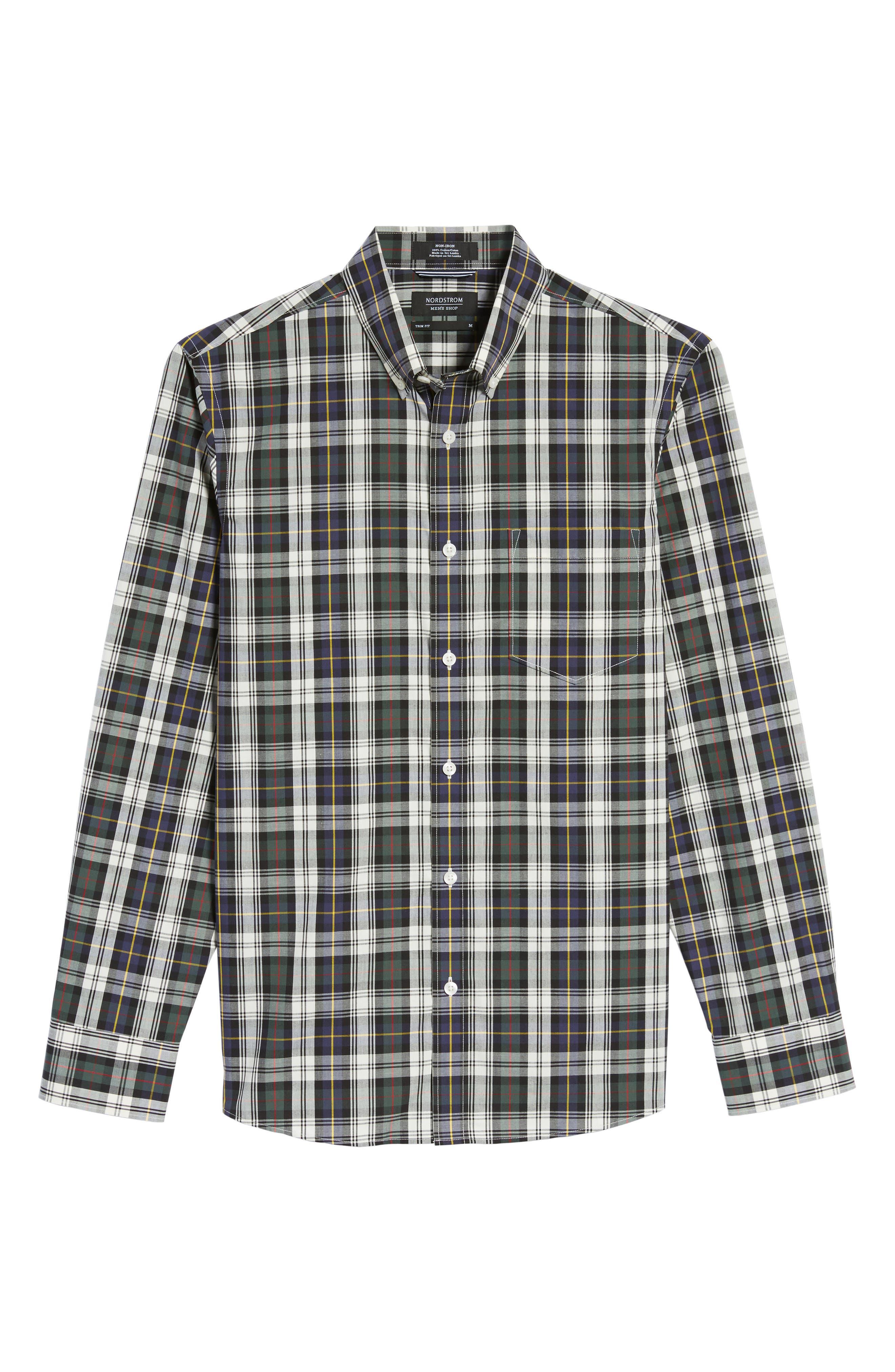 Trim Fit Non-Iron Plaid Sport Shirt,                             Alternate thumbnail 6, color,                             Ivory Egret Green Tartan