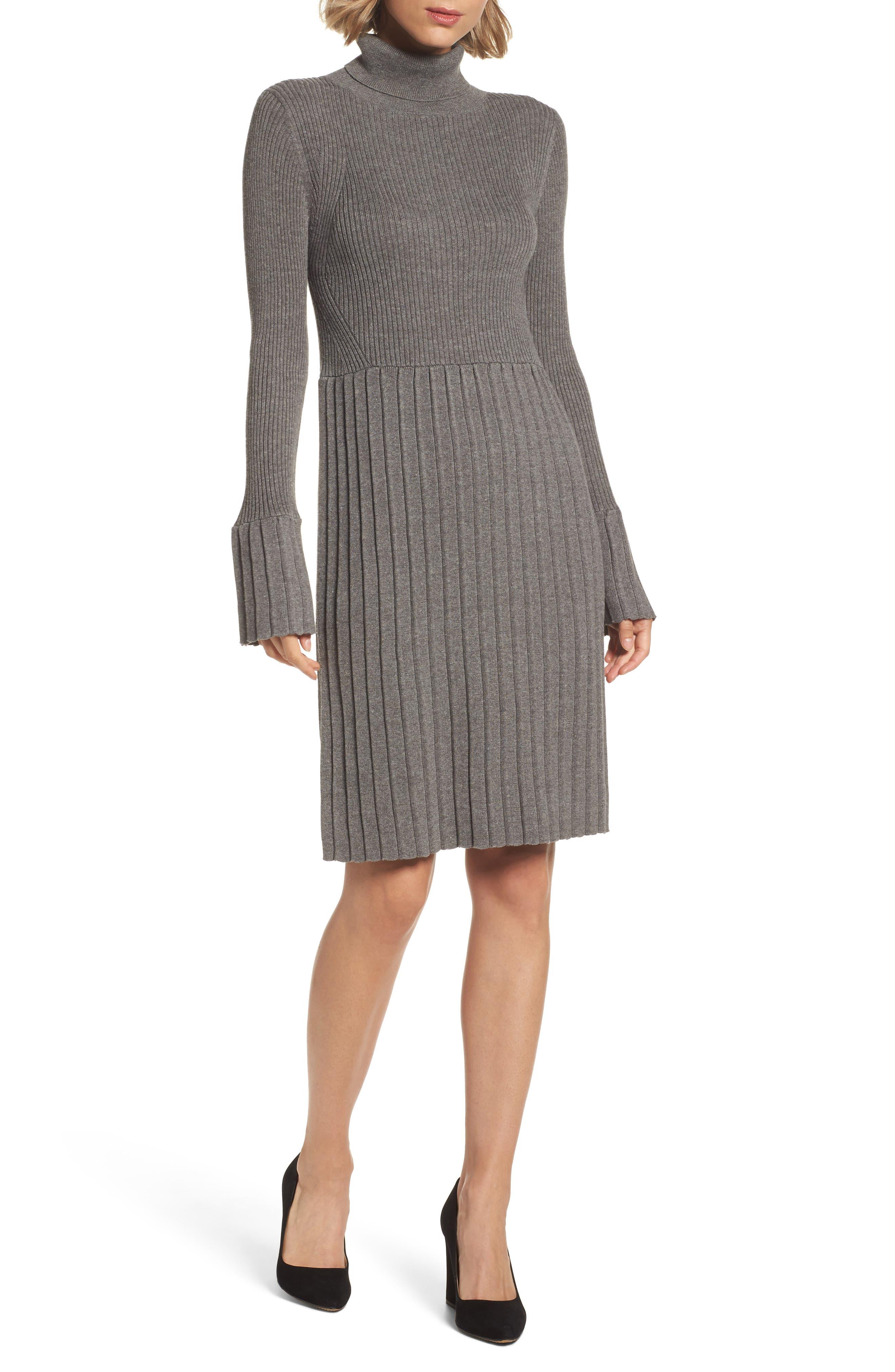 Turtleneck Dress,                         Main,                         color, Grey Heather