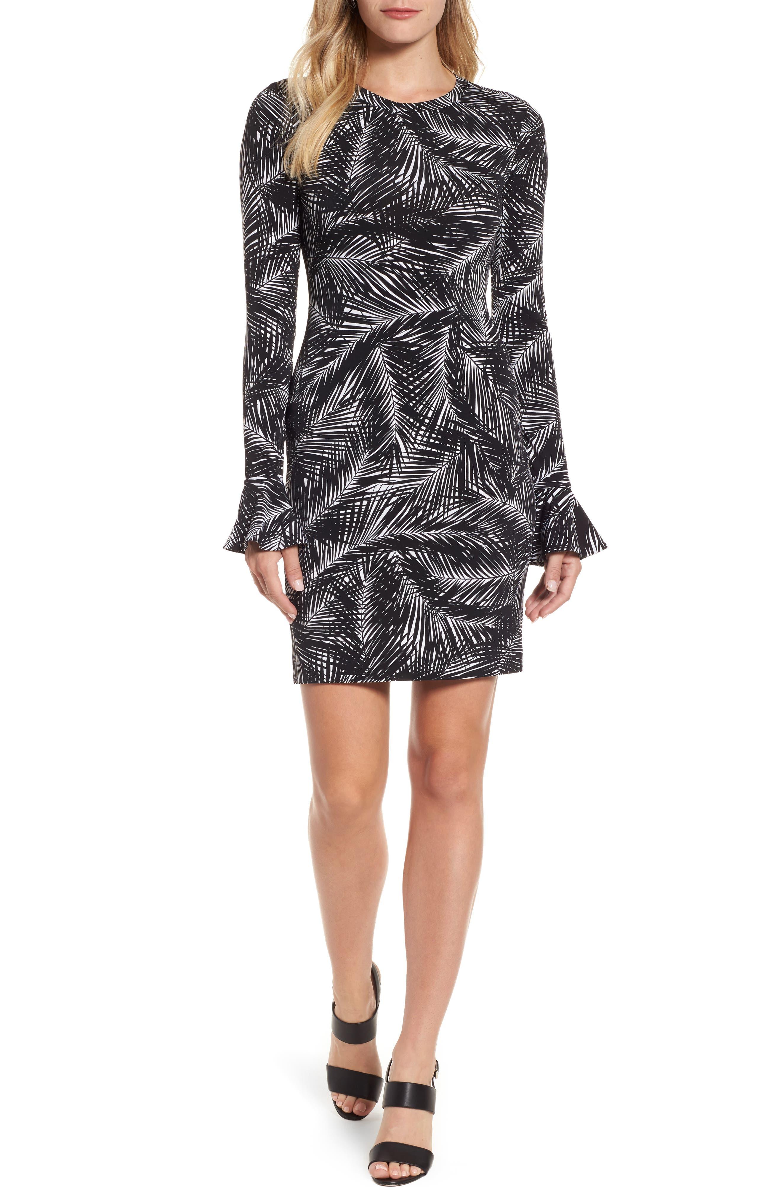 Palm Print Bell Sleeve Dress,                         Main,                         color, Black/White