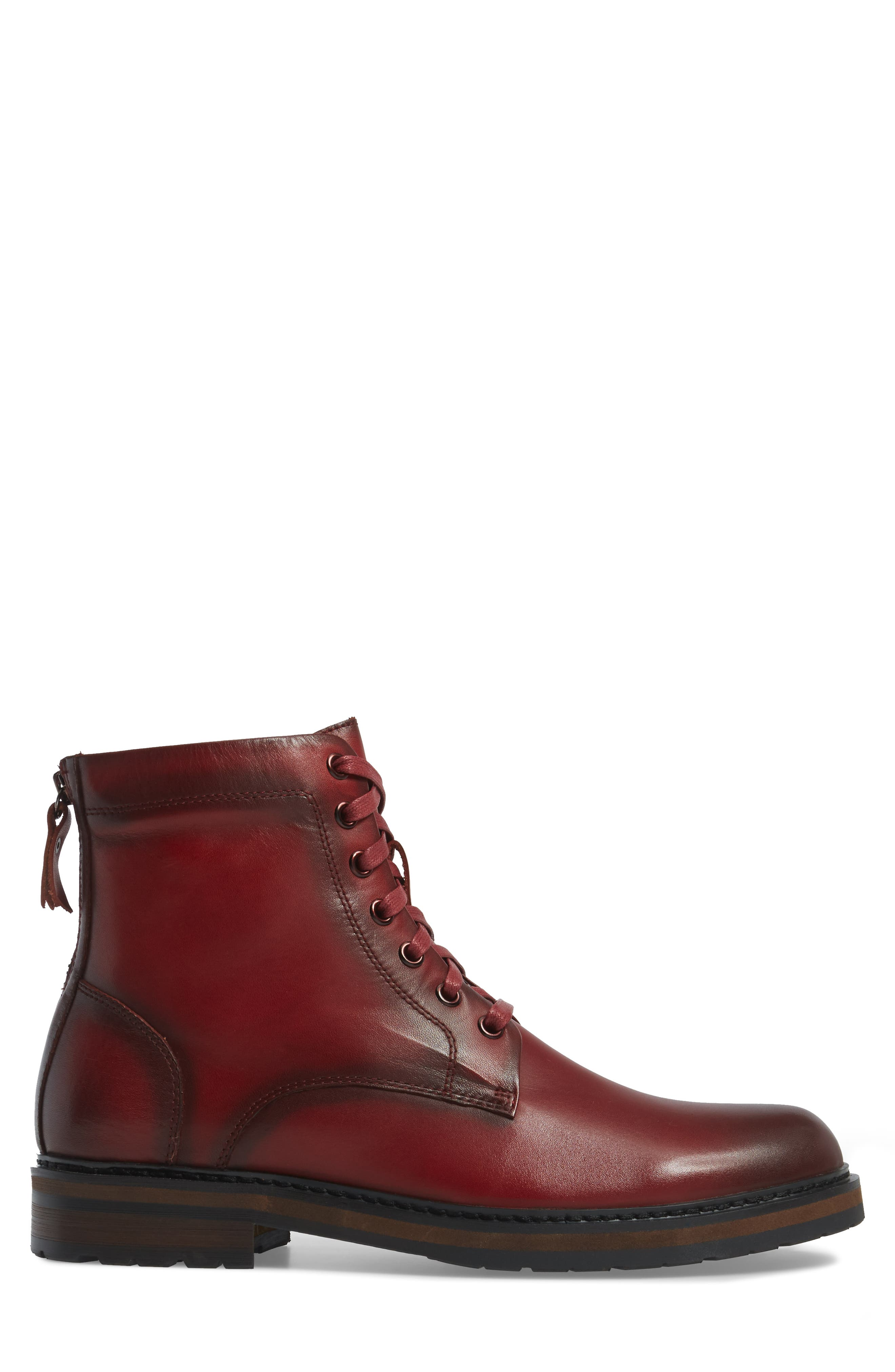 Miro Combat Boot,                             Alternate thumbnail 3, color,                             Wine Leather