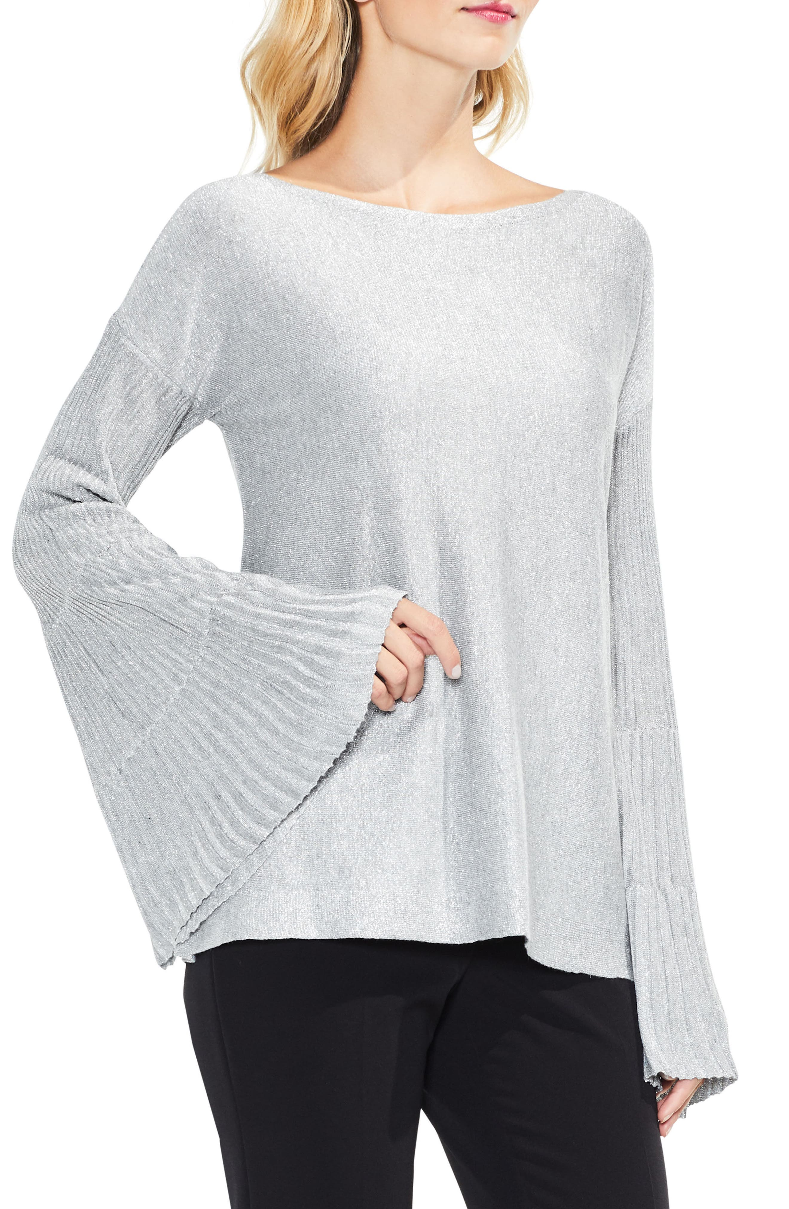 Sparkly Bell Sleeve Sweater,                             Main thumbnail 1, color,                             Light Heather Grey