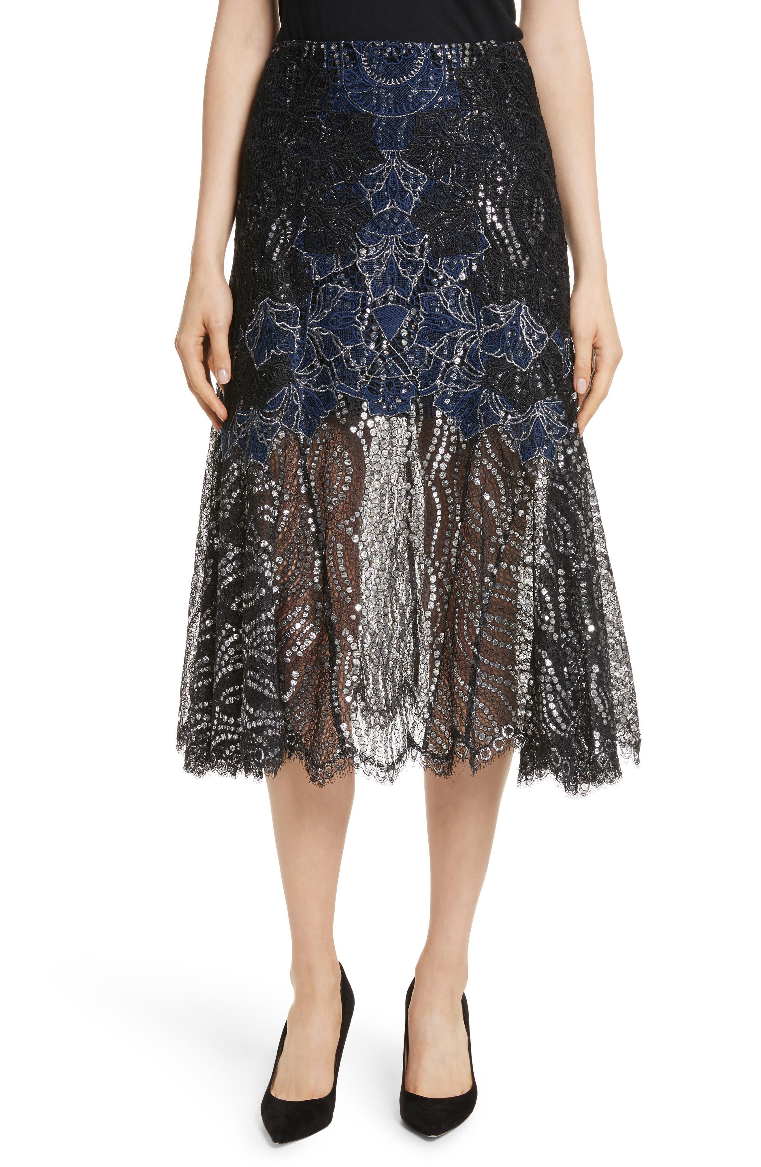 Dimensional Metallic Appliqué Trumpet Skirt,                             Main thumbnail 1, color,                             Black
