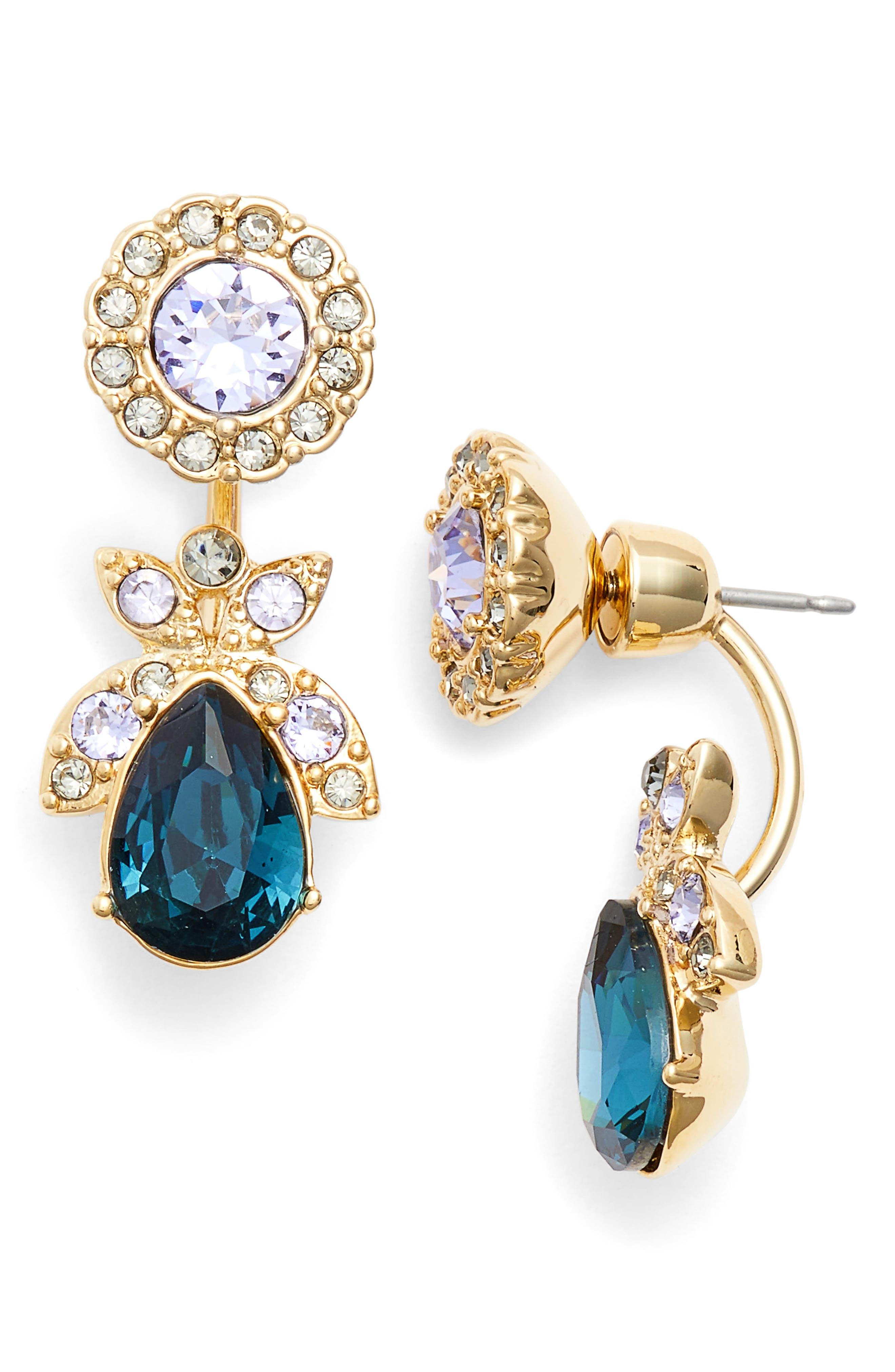 Crystal Ear Jackets,                         Main,                         color, Blue Multi/ Gold