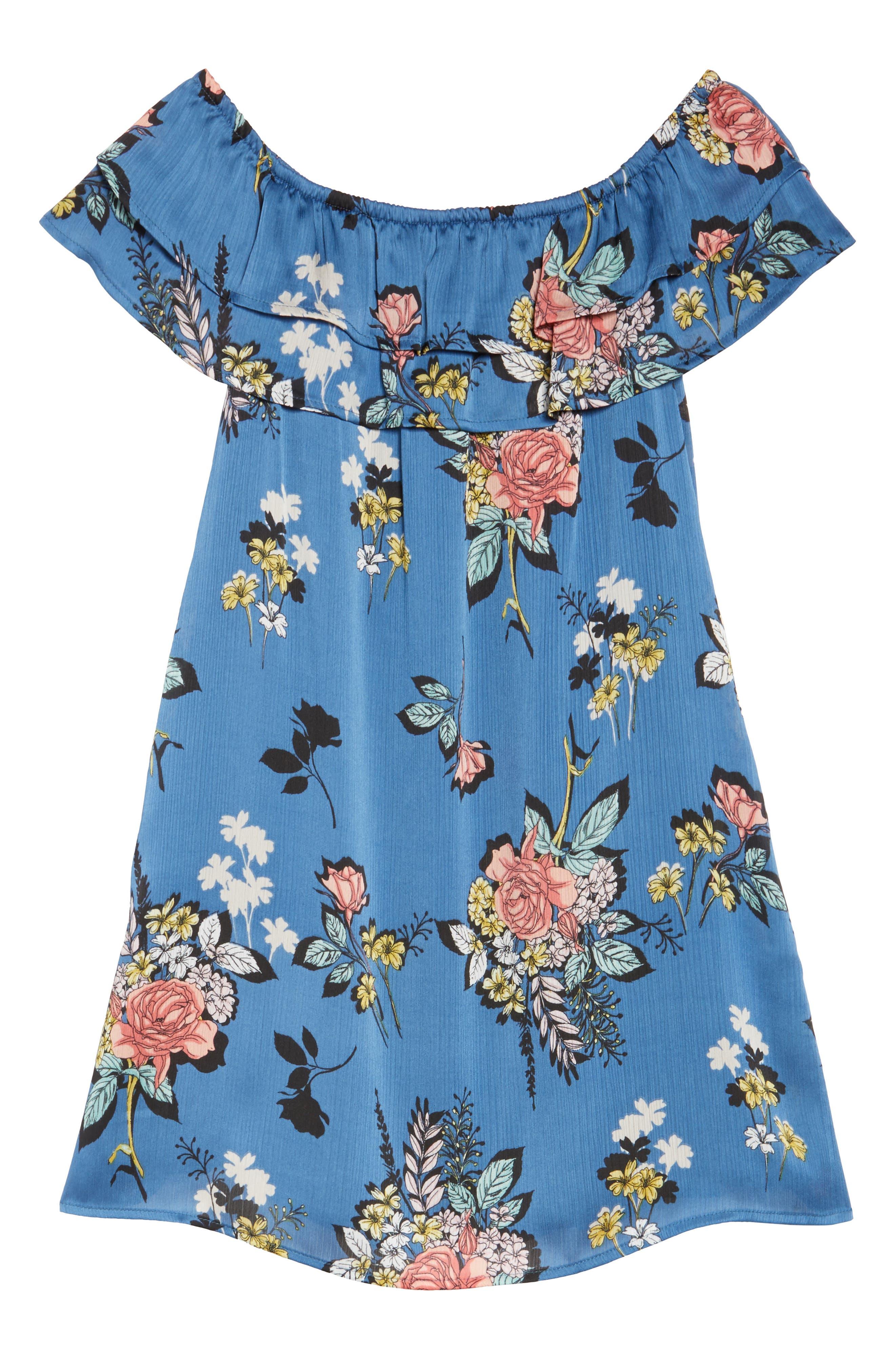 Off the Shoulder Ruffle Dress,                             Alternate thumbnail 6, color,                             Charcoal Flower Blue