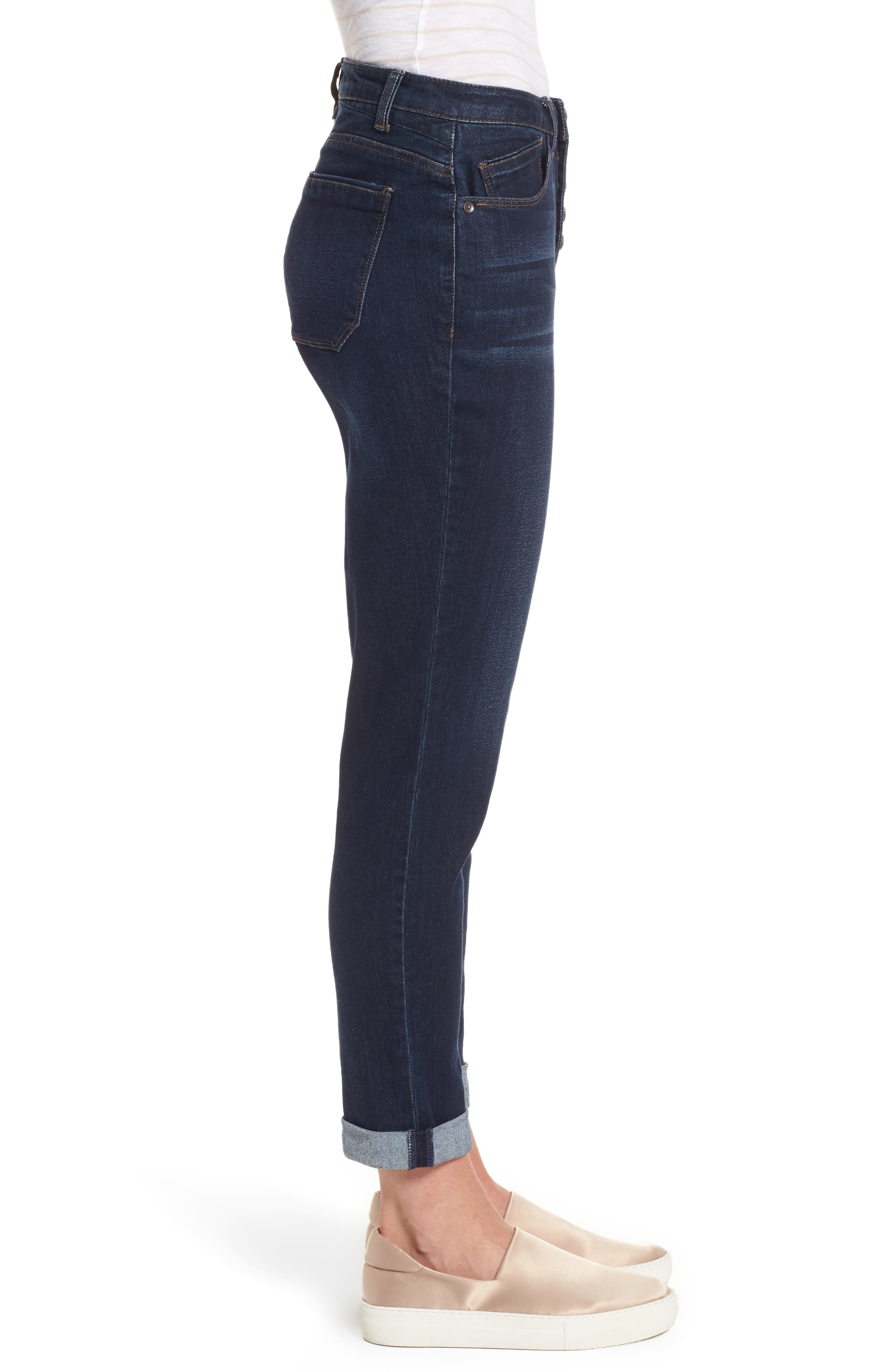 Exposed Button Fly Skinny Jeans,                             Alternate thumbnail 4, color,                             Blue