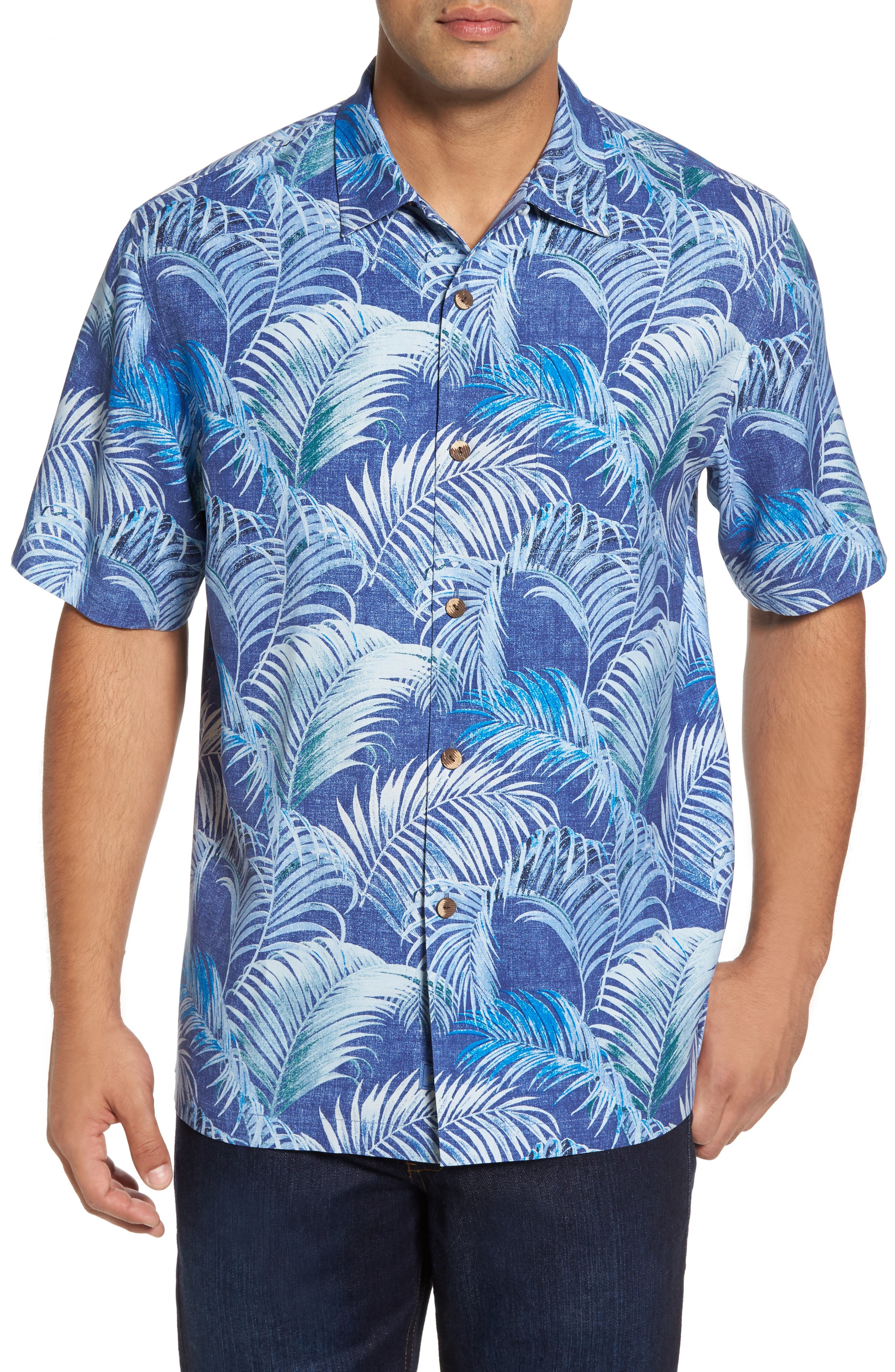 Garden of Hope and Courage Silk Camp Shirt,                         Main,                         color, Eclipse