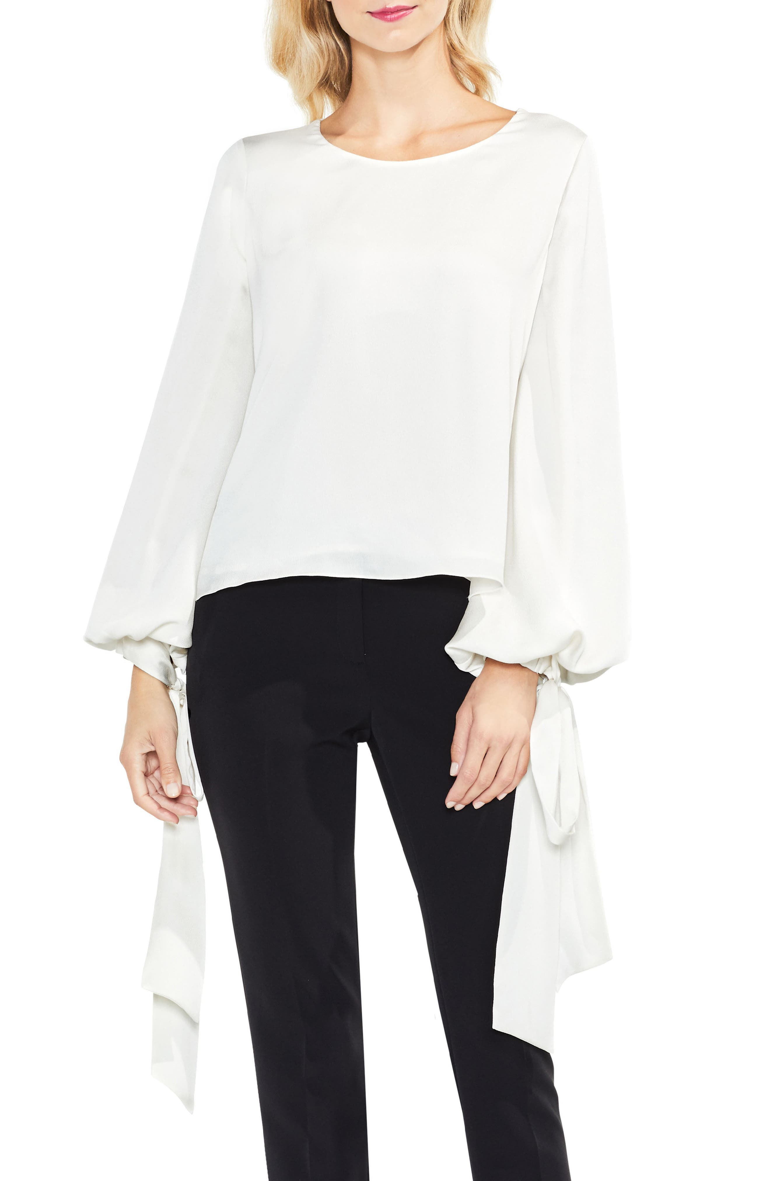 Vince Camuto Tie Cuff Bubble Sleeve Blouse (Regular & Petite)