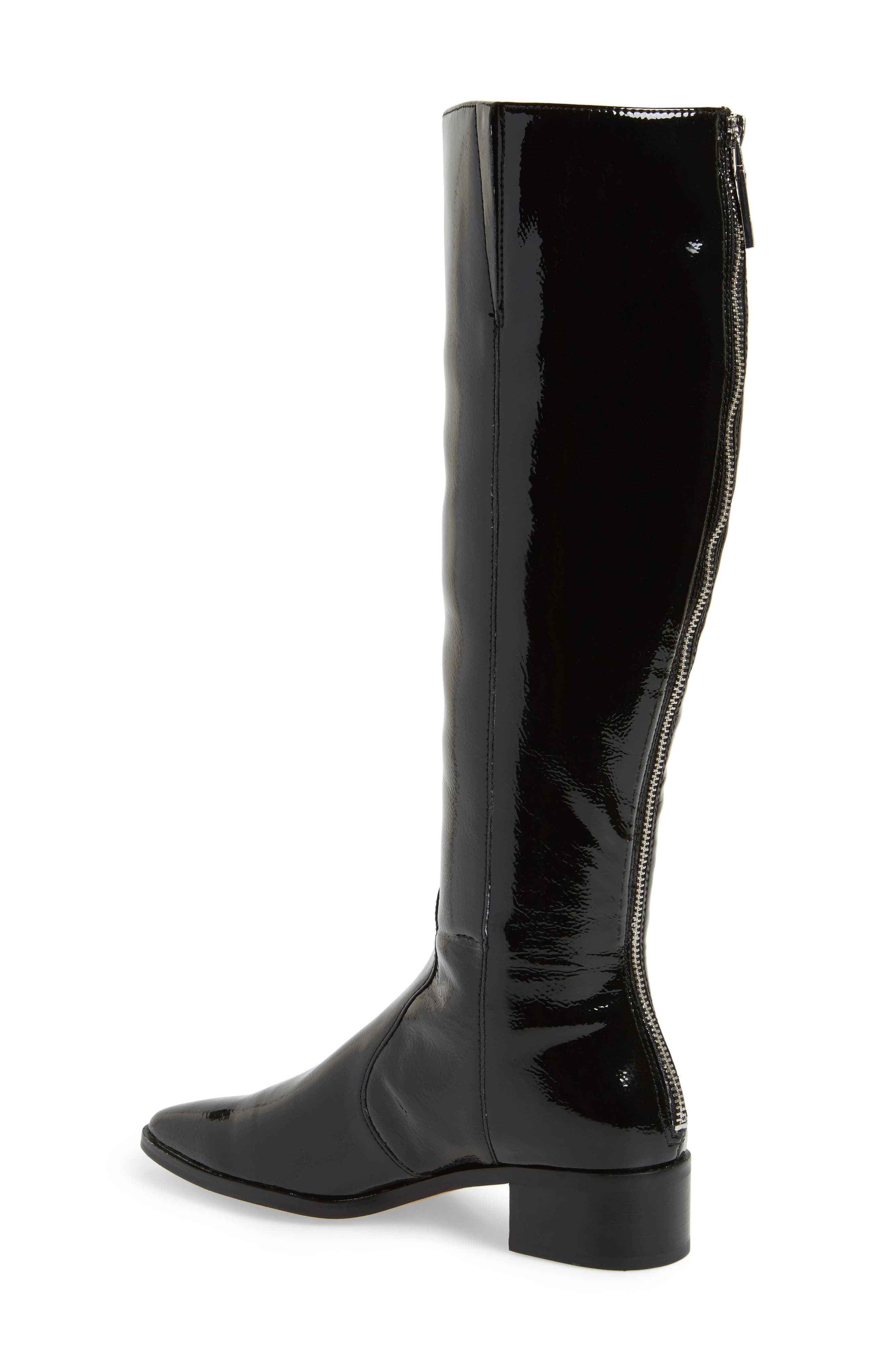 Morey Knee High Riding Boot,                             Alternate thumbnail 2, color,                             Onyx Patent