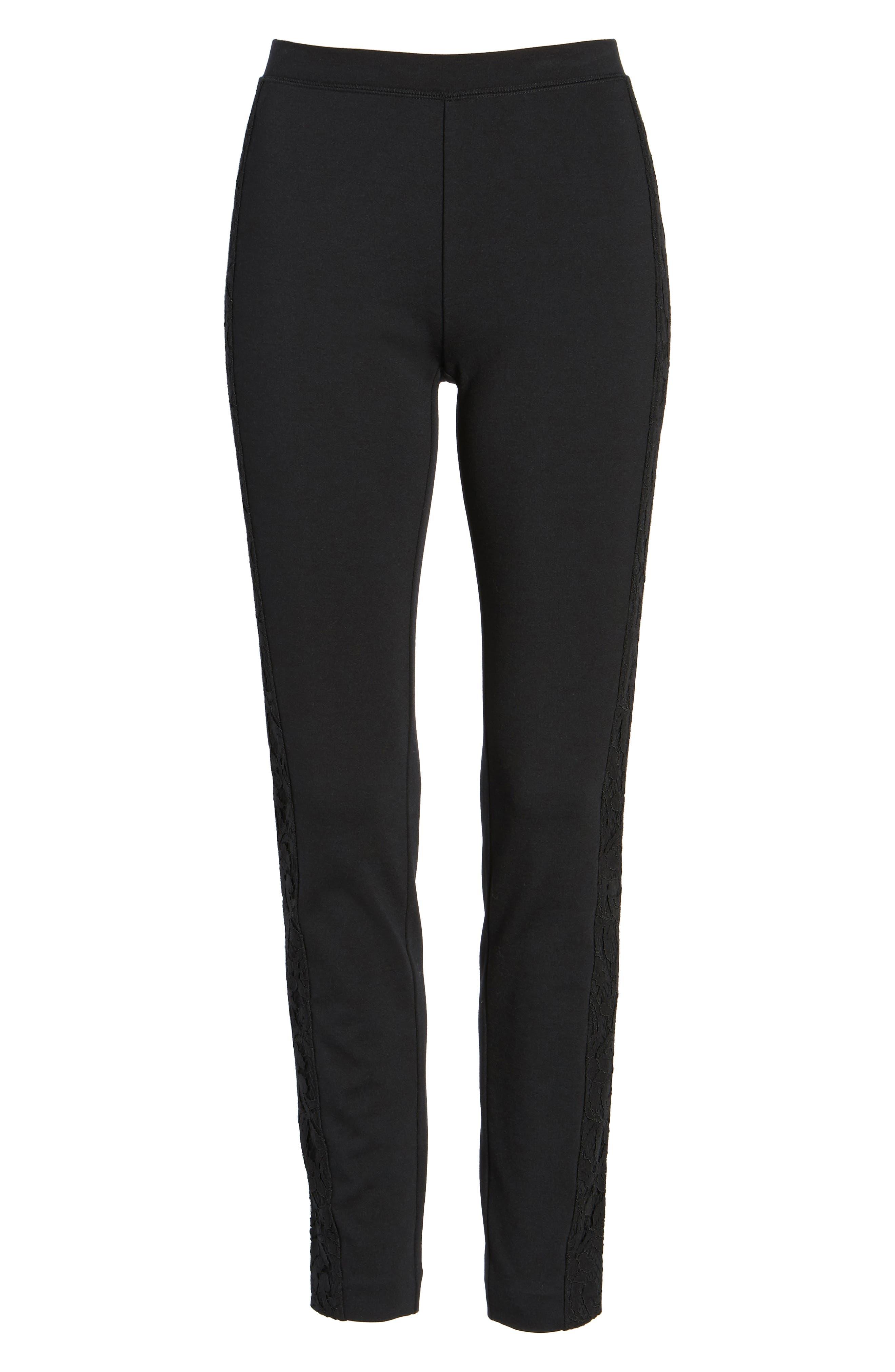 Lace Side Leggings,                             Alternate thumbnail 6, color,                             Black