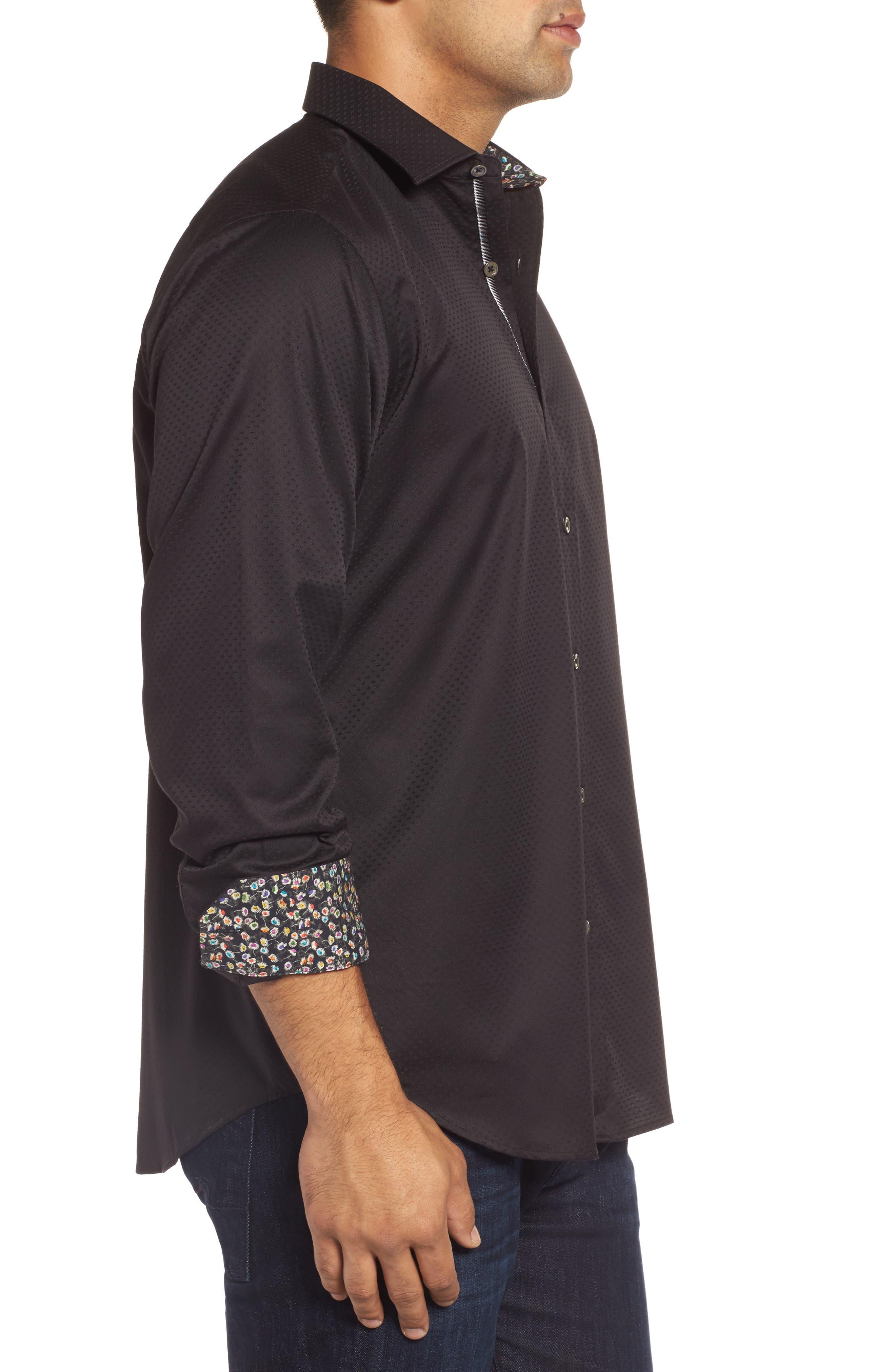 Classic Fit Diamond Jacquard Sport Shirt,                             Alternate thumbnail 3, color,                             Black