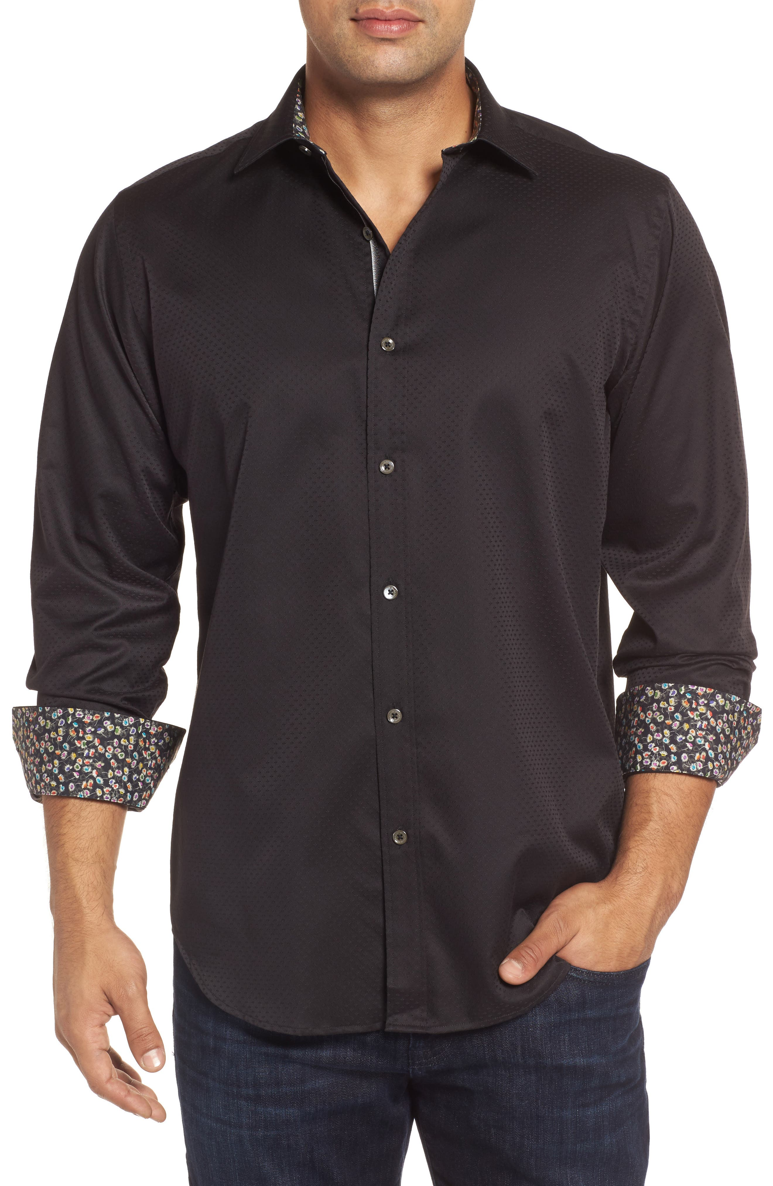 Classic Fit Diamond Jacquard Sport Shirt,                         Main,                         color, Black