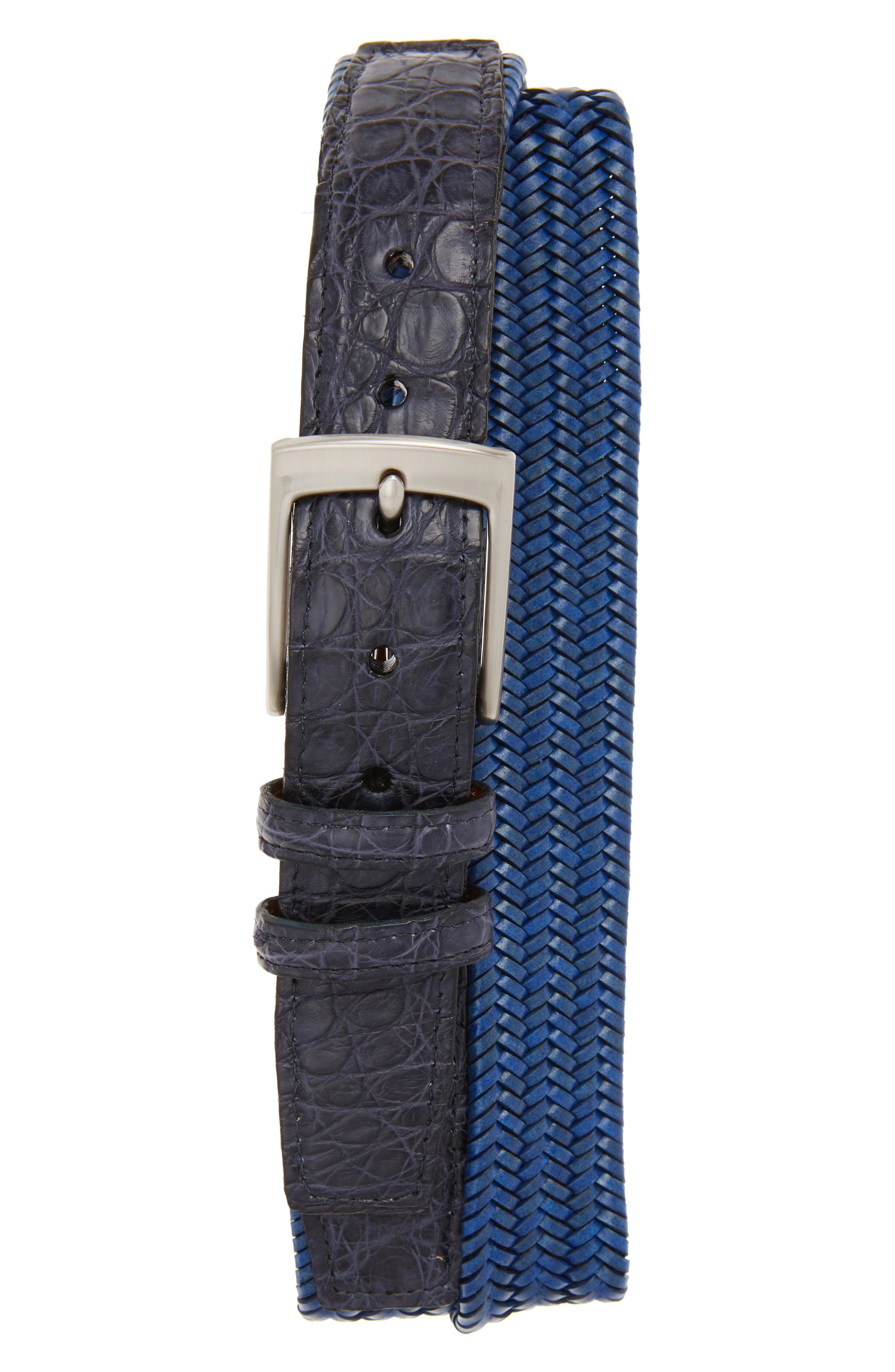 Stretch Woven Leather Belt,                         Main,                         color, Blue