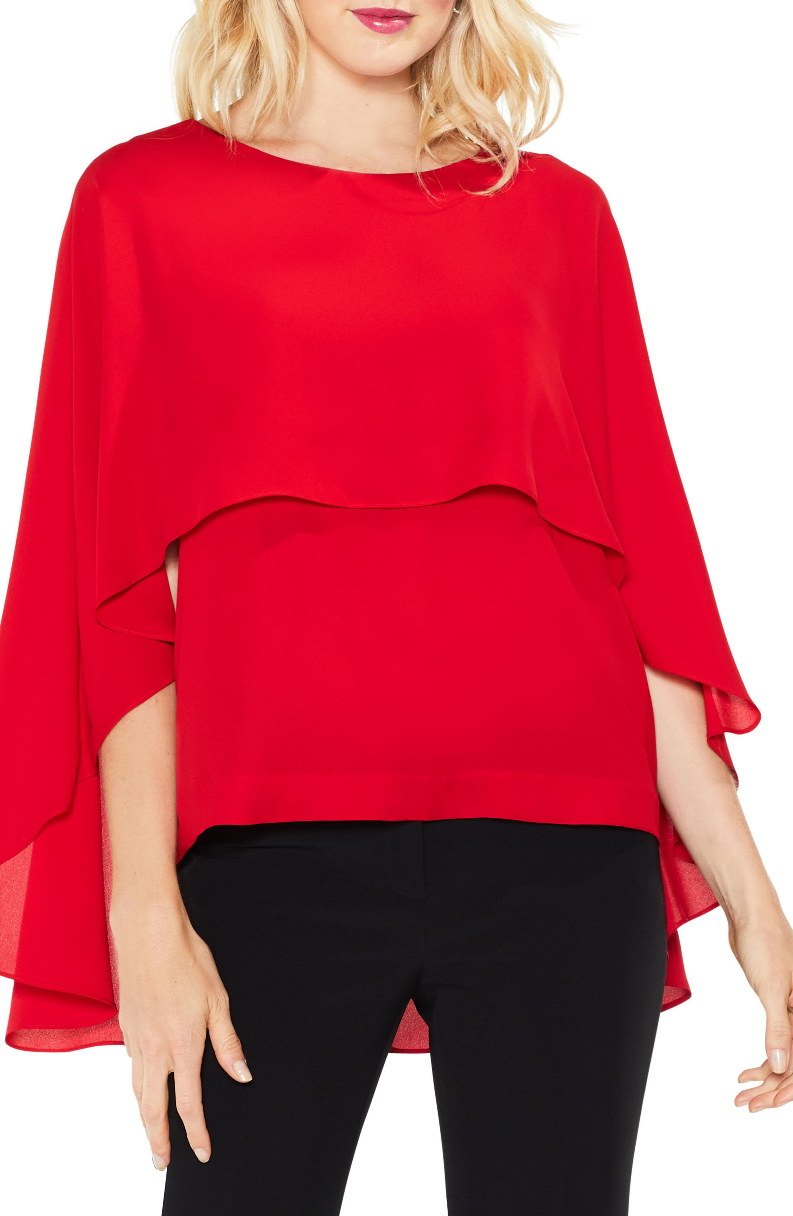 Alternate Image 1 Selected - Vince Camuto Cape Overlay Blouse