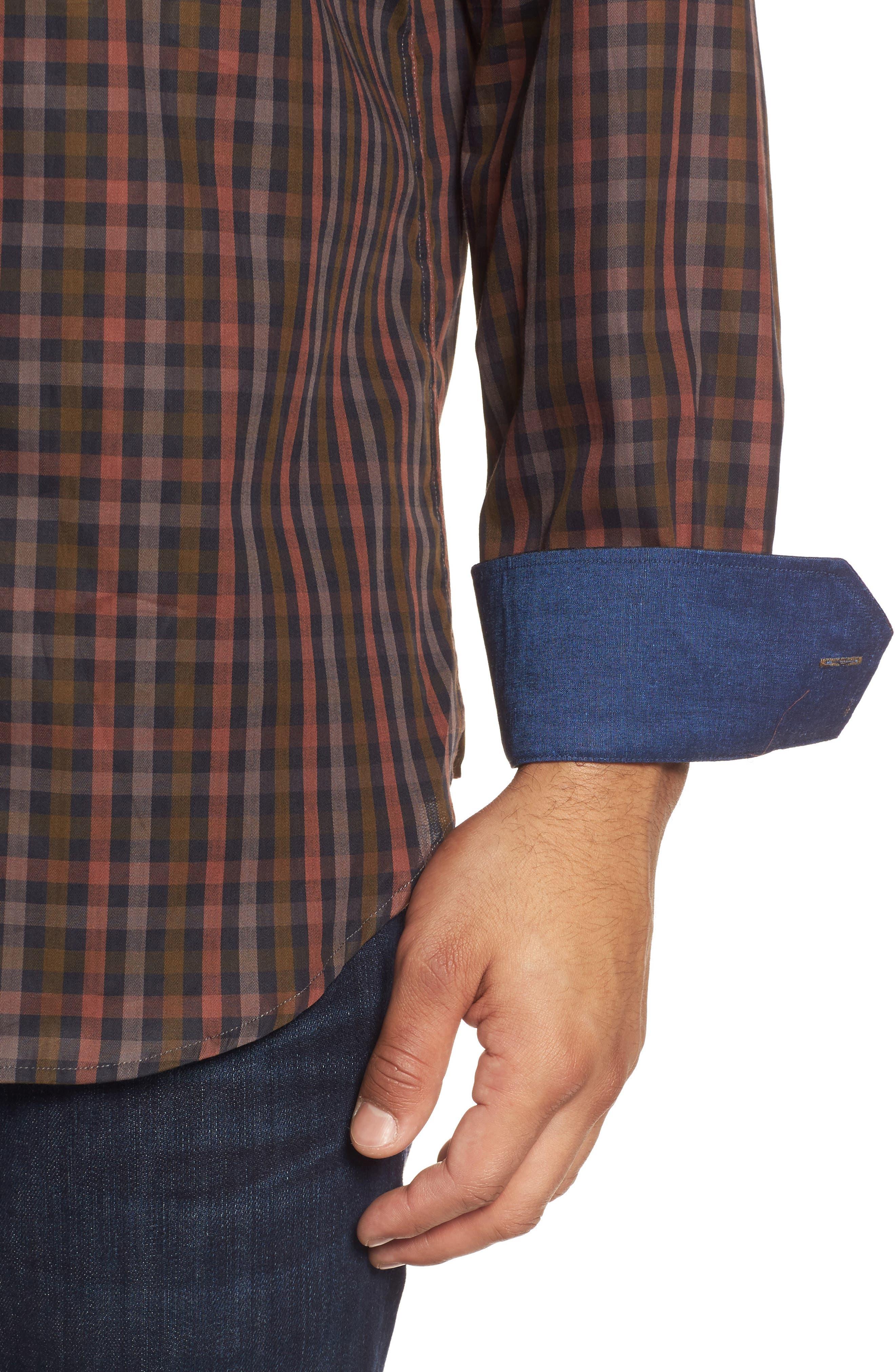 Classic Fit Check Twill Sport Shirt,                             Alternate thumbnail 4, color,                             Khaki