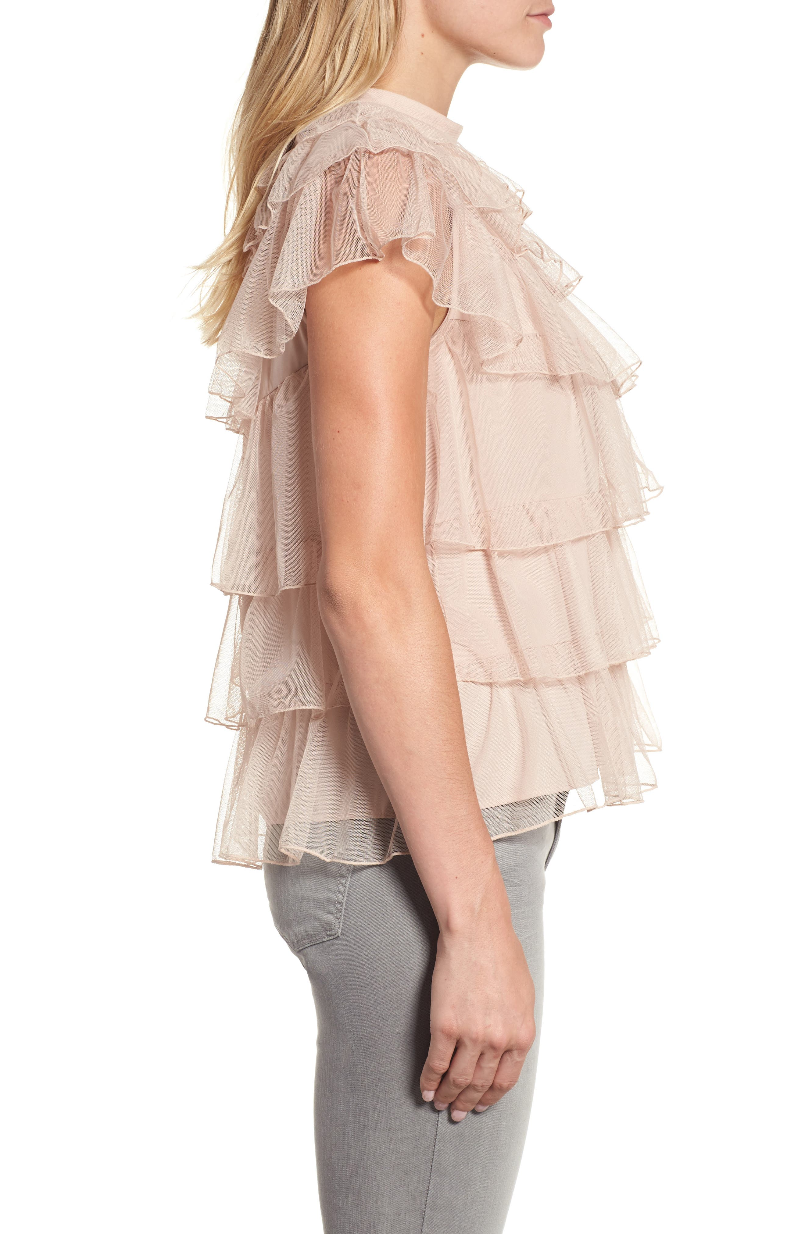 Tie Back Tiered Mesh Top,                             Alternate thumbnail 3, color,                             Blush