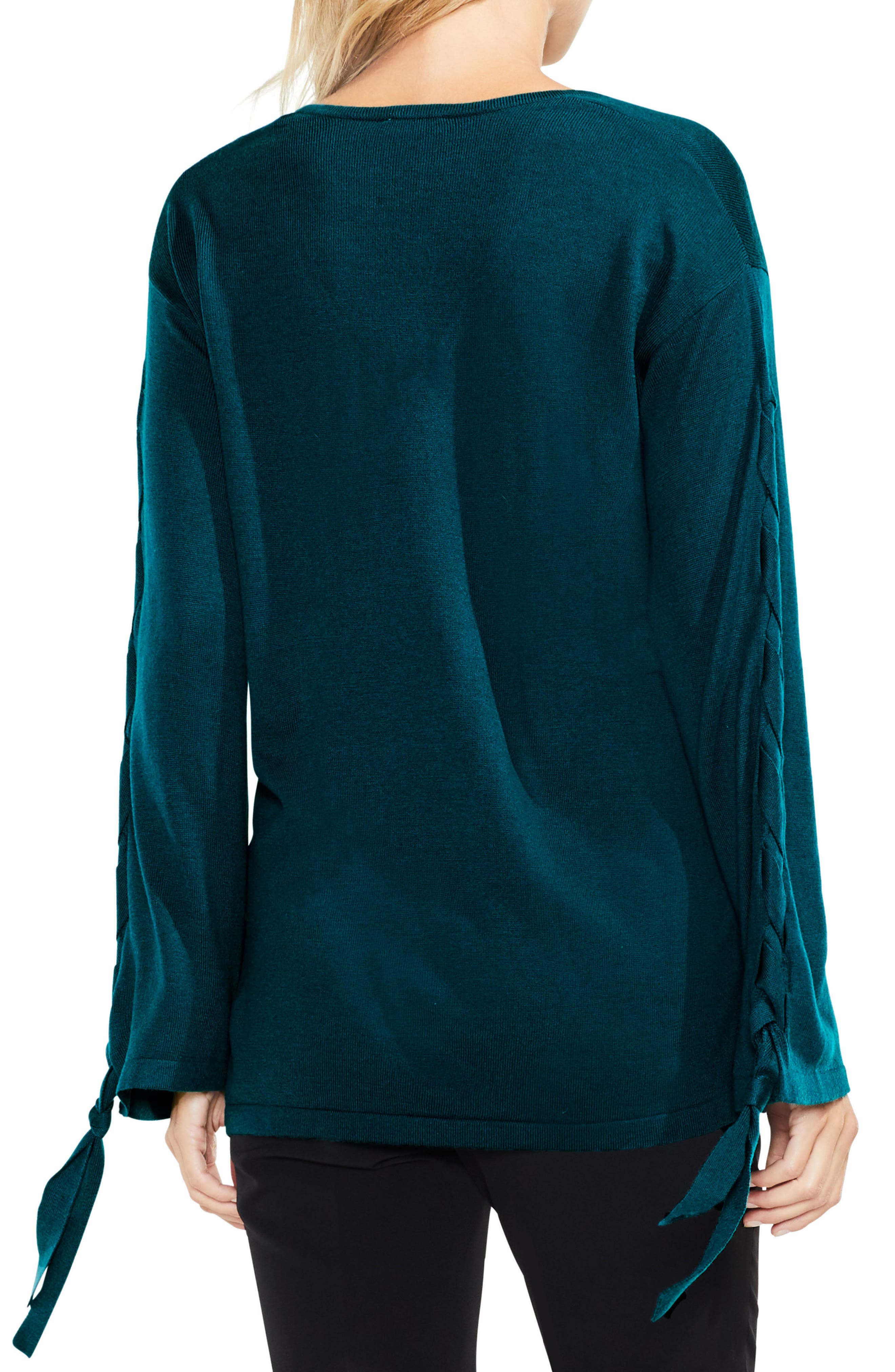Alternate Image 3  - Vince Camuto Lace-Up Bell Sleeve Sweater (Regular & Petite)