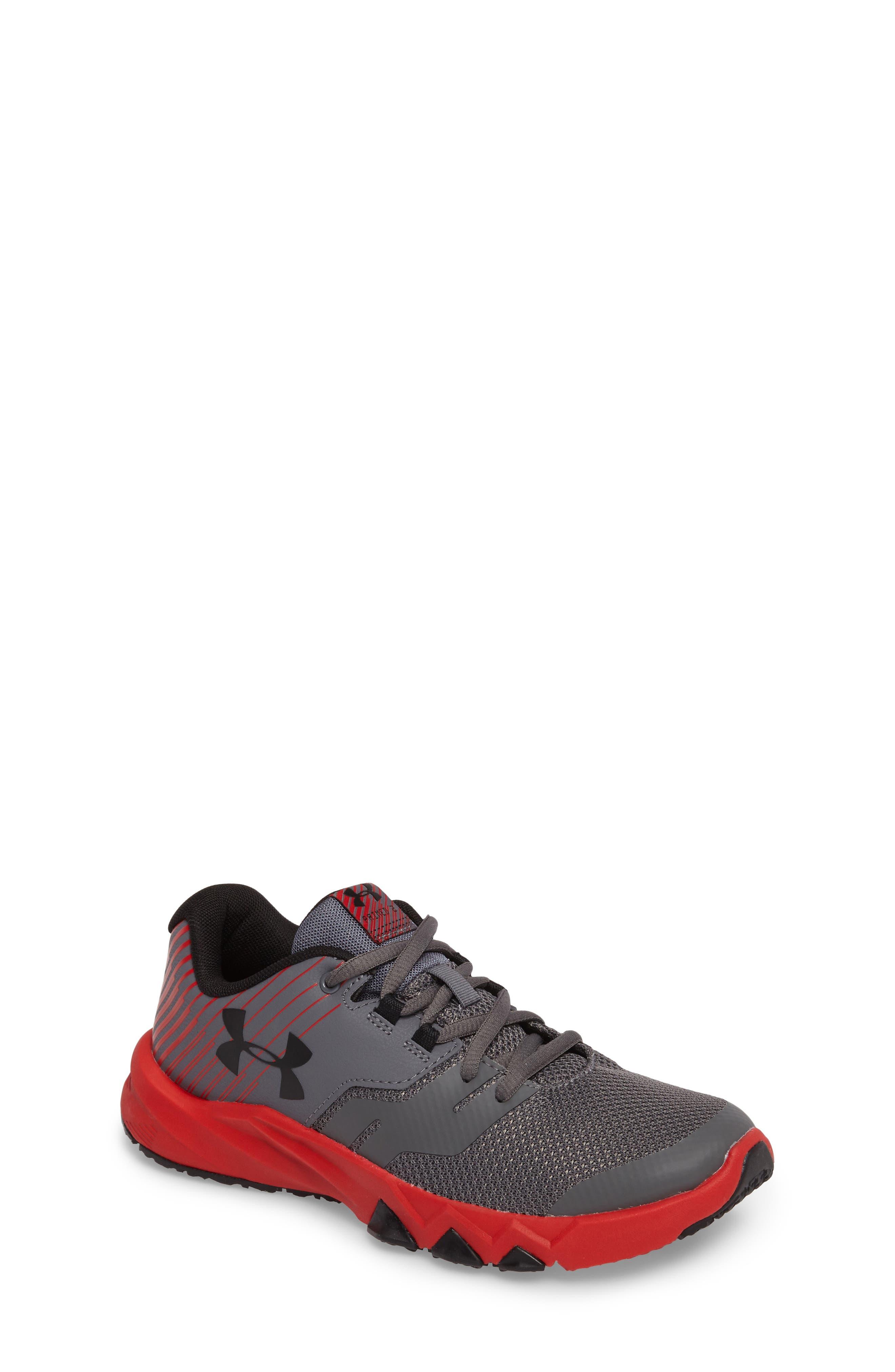 Grade School Primed 2 Running Shoe,                         Main,                         color, Graphite/ Red/ Black