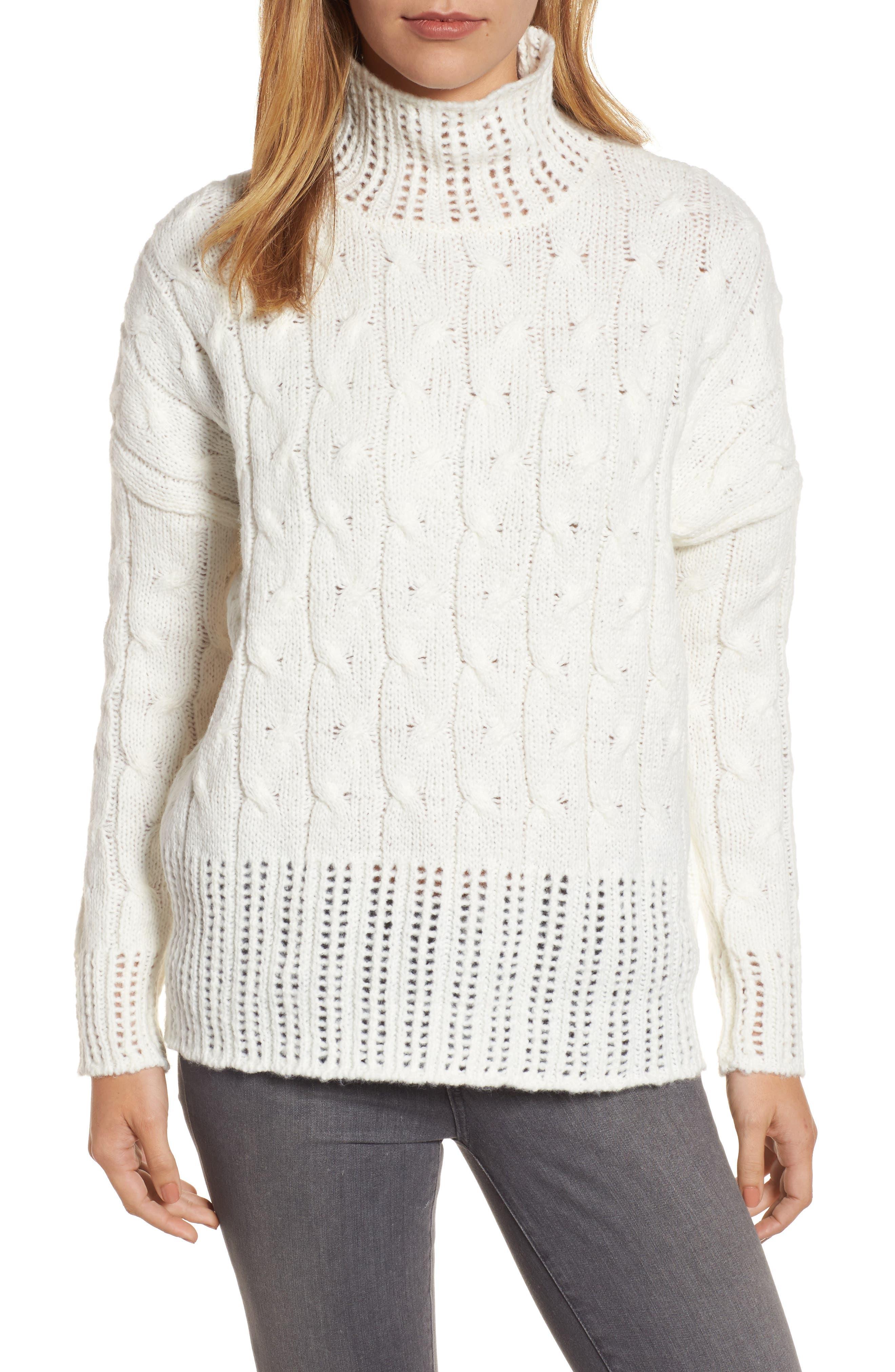 Pointelle Turtleneck Sweater,                         Main,                         color, Cream
