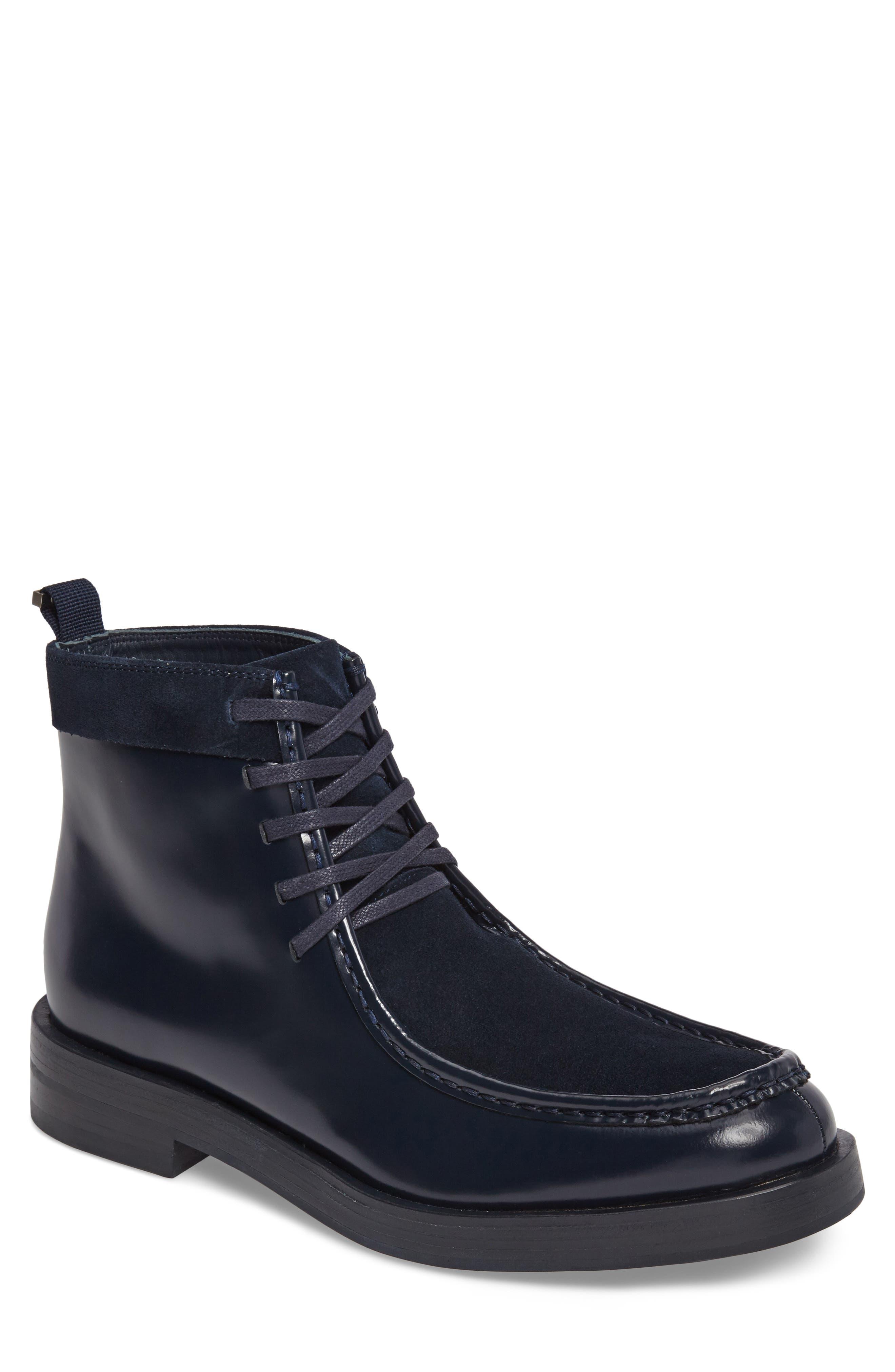 Rafi Moc Toe Boot,                             Main thumbnail 1, color,                             Dark Navy Leather
