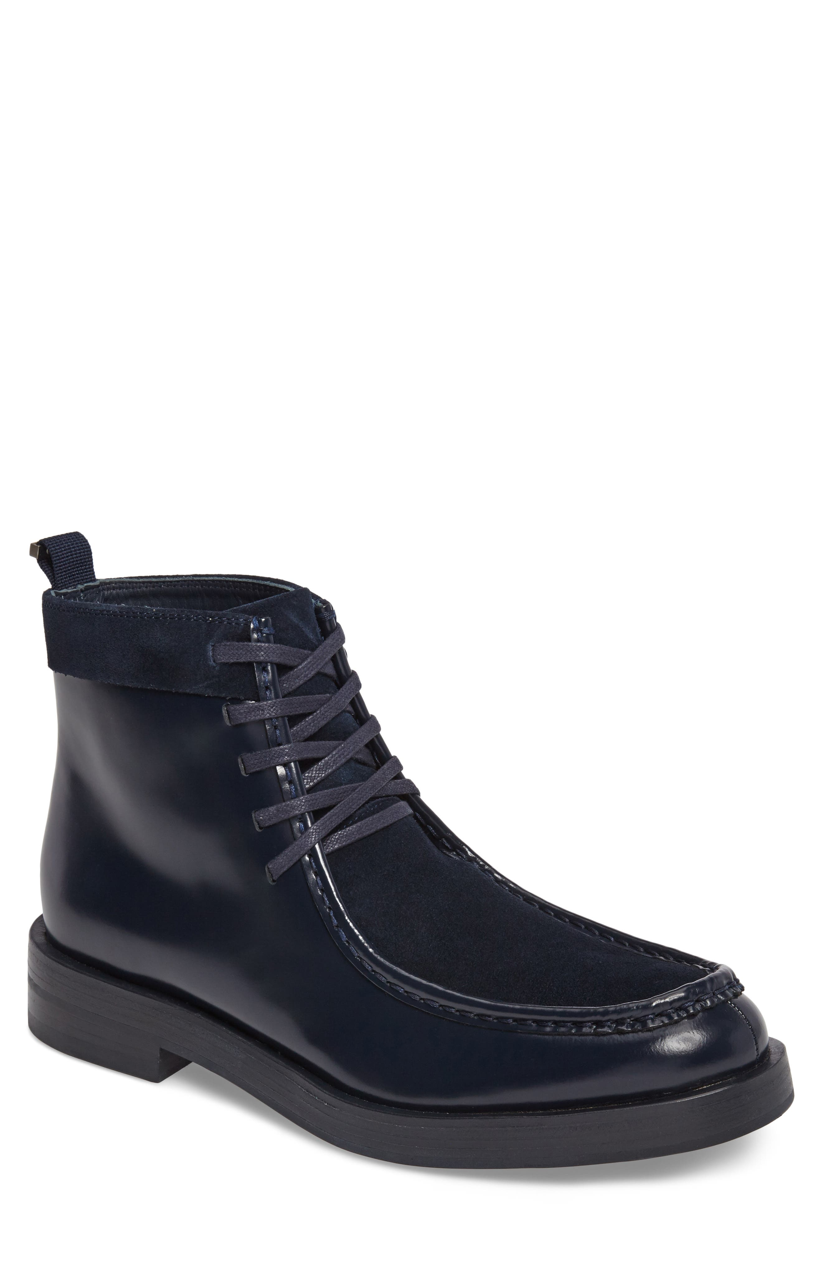 Rafi Moc Toe Boot,                         Main,                         color, Dark Navy Leather