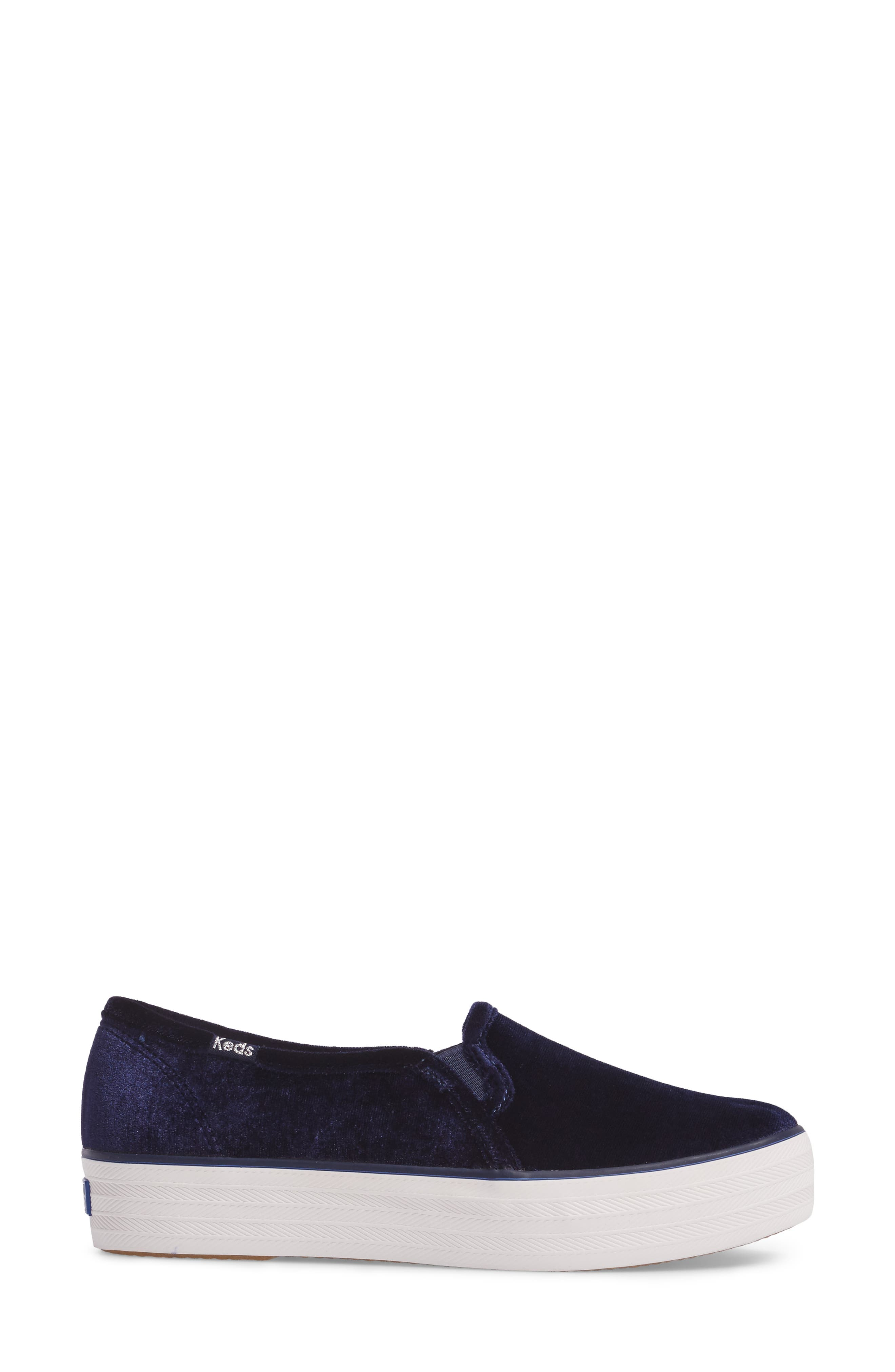 Triple Decker Slip-On Platform Sneaker,                             Alternate thumbnail 3, color,                             Navy Velvet