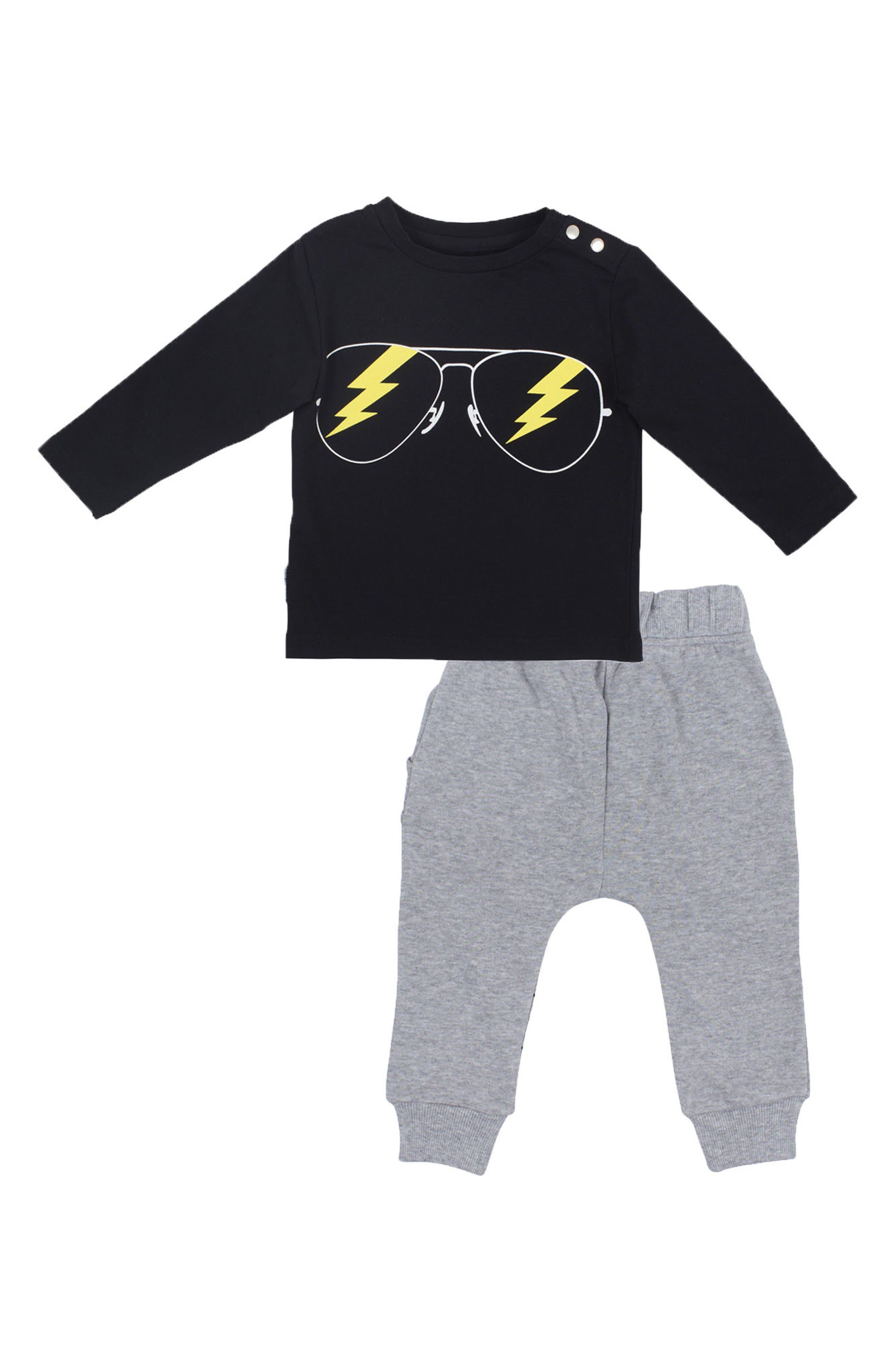 Rockstar T-Shirt & Jogger Pants Set,                         Main,                         color, Black