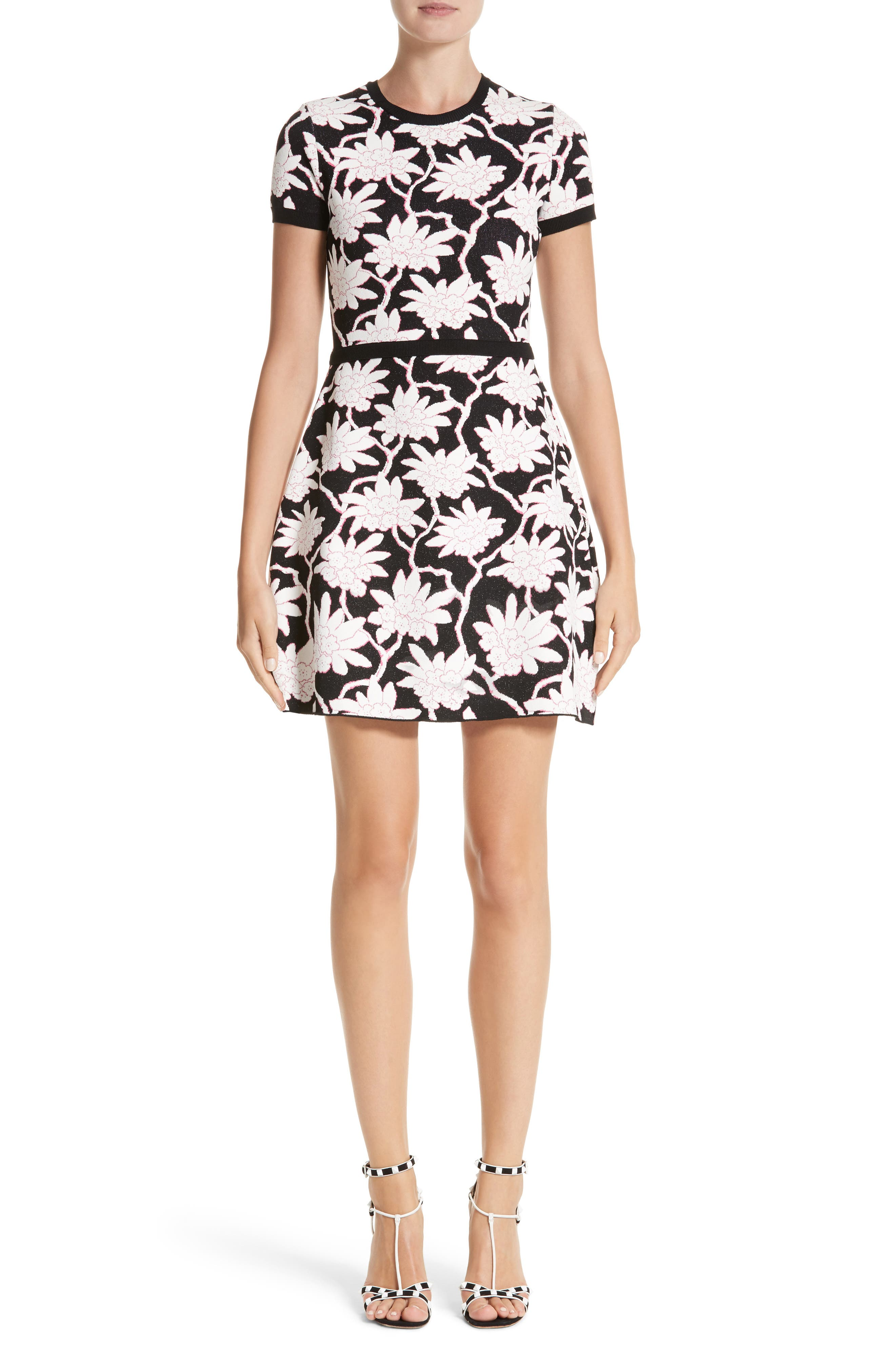 Rhododendron Jacquard Dress,                         Main,                         color, Black