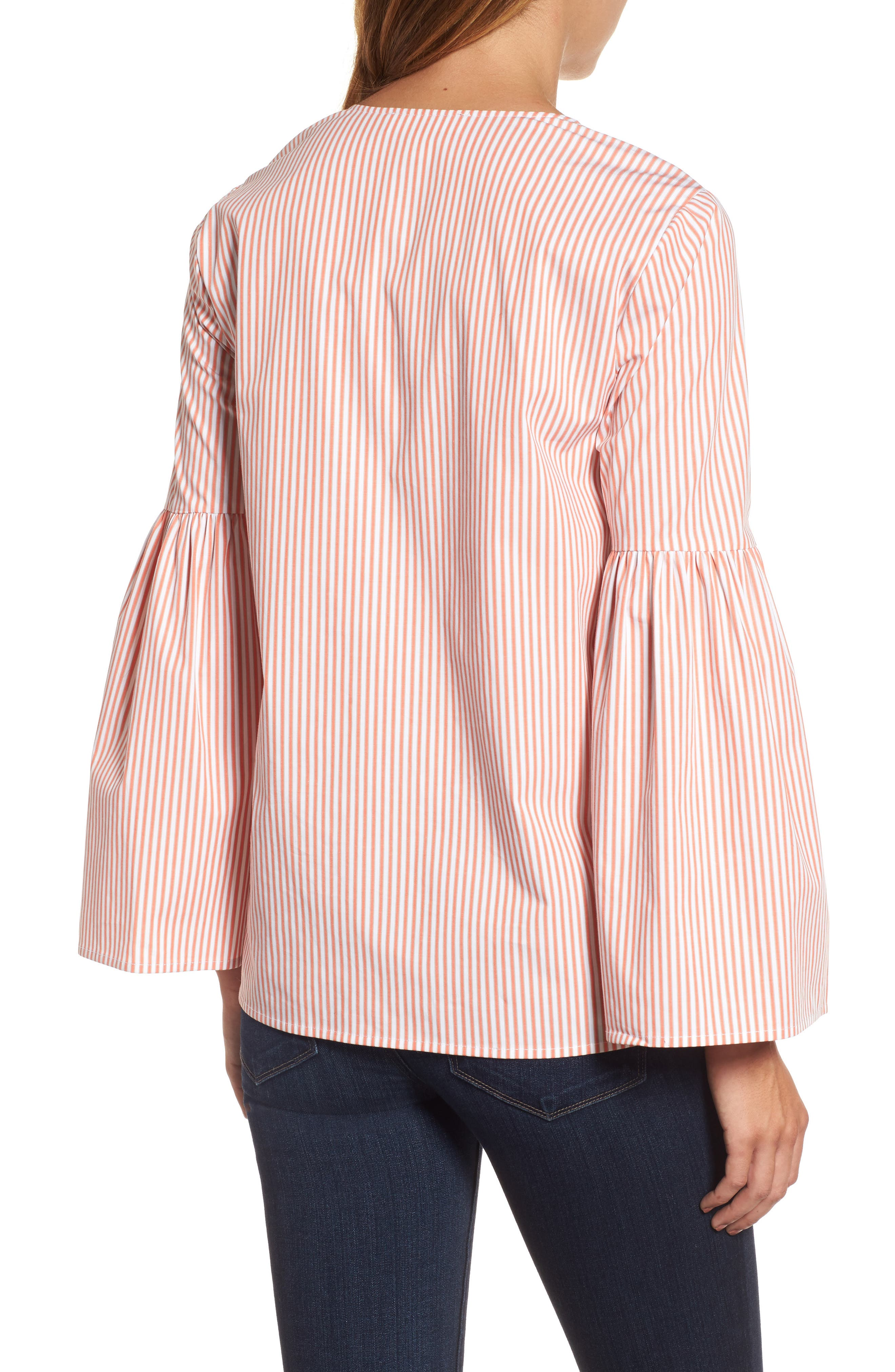 Lace-Up Bell Sleeve Top,                             Alternate thumbnail 2, color,                             Poppy
