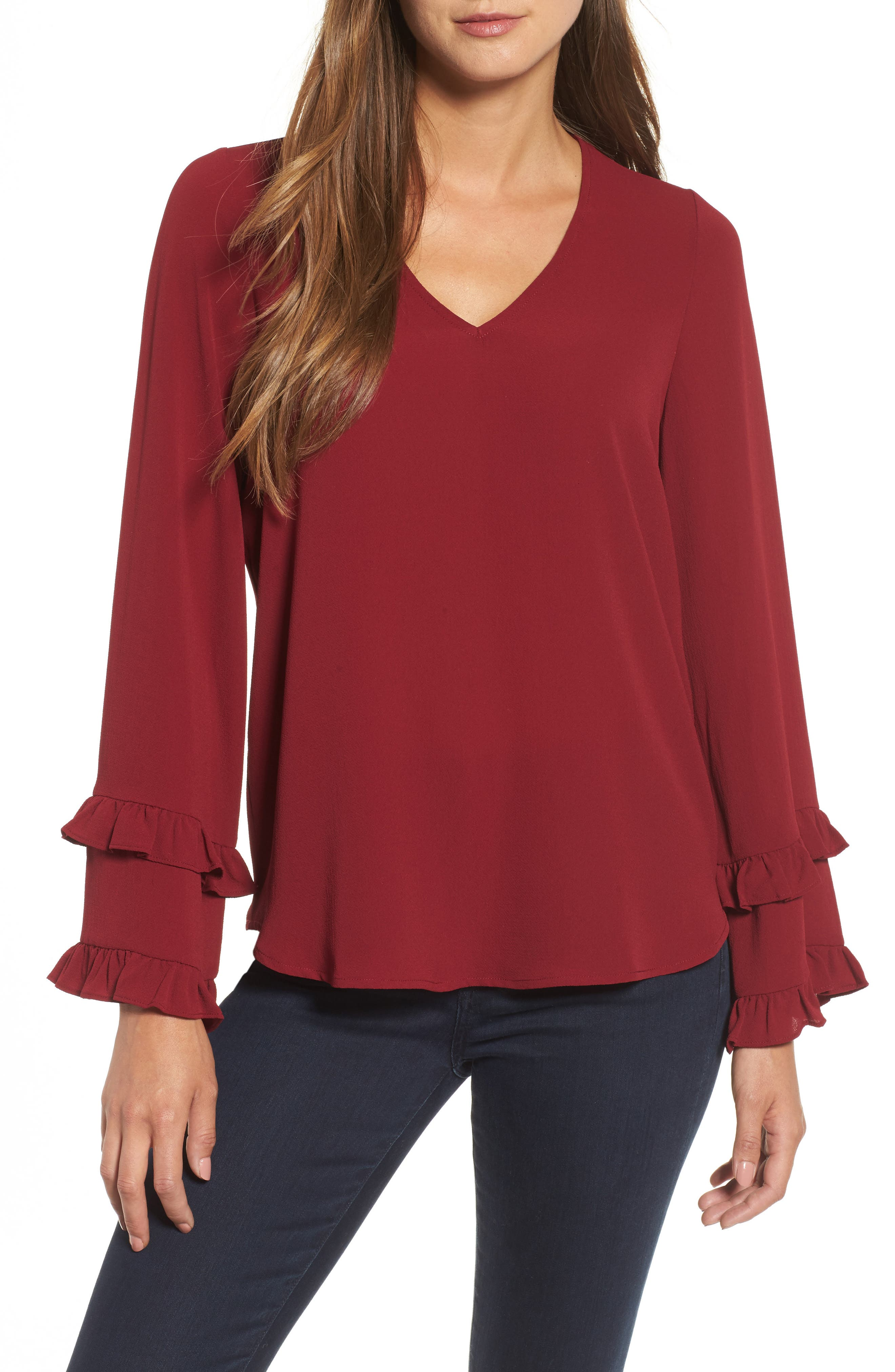 Ruffle Bell Sleeve Top,                             Main thumbnail 1, color,                             Wine